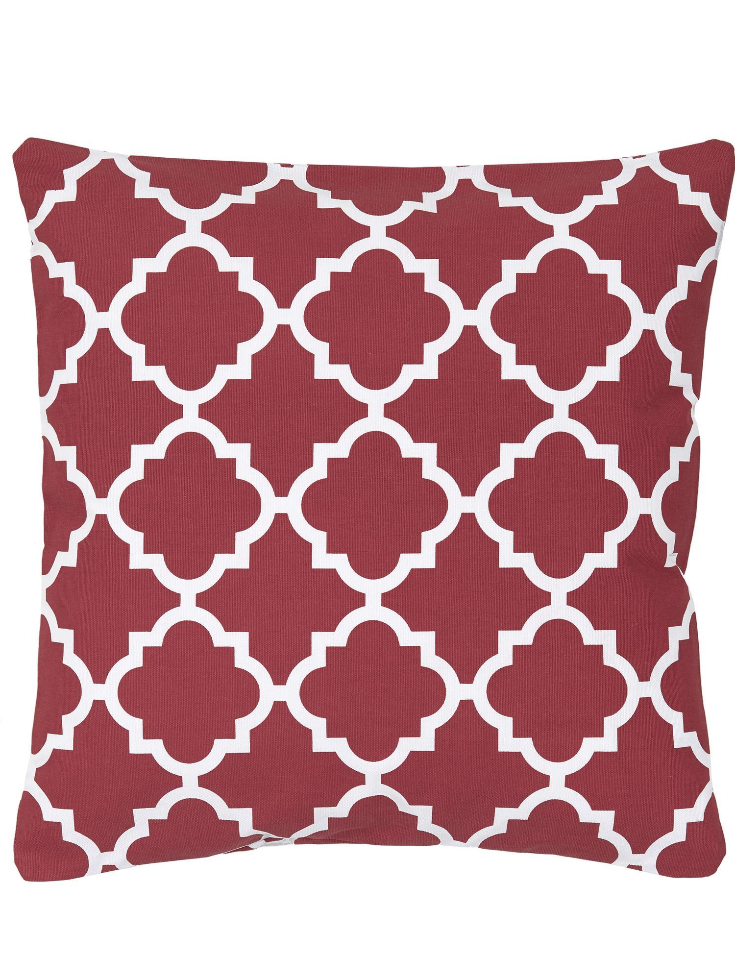 Poszewka na poduszkę Lana, 100% bawełna, Ciemny czerwony, biały, S 45 x D 45 cm