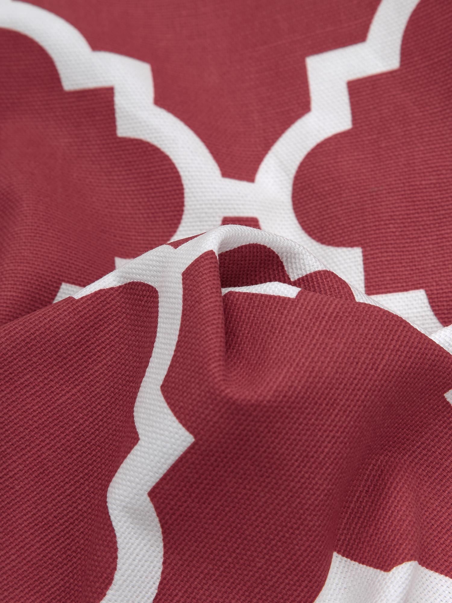 Kissenhülle Lana mit grafischem Muster, 100% Baumwolle, Dunkelrot, Weiß, 45 x 45 cm