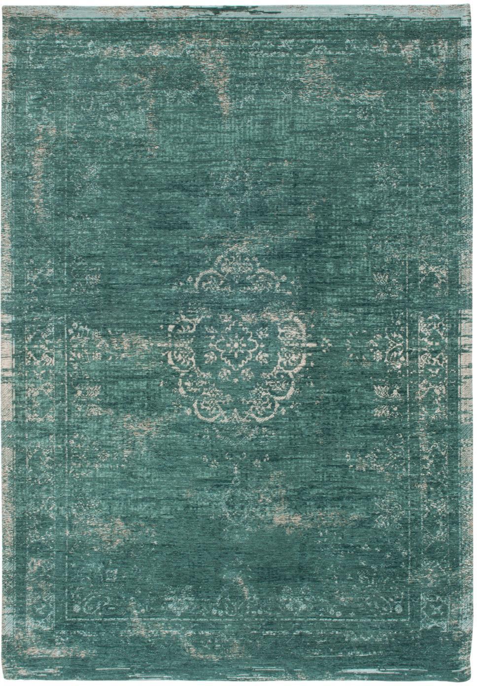 Vintage Chenilleteppich Medaillon, Vorderseite: 100% Chenillegarn (Baumwo, Webart: Jacquard, Rückseite: Chenillegarn, latexbeschi, Grün, Grau, B 230 x L 330 cm (Größe L)
