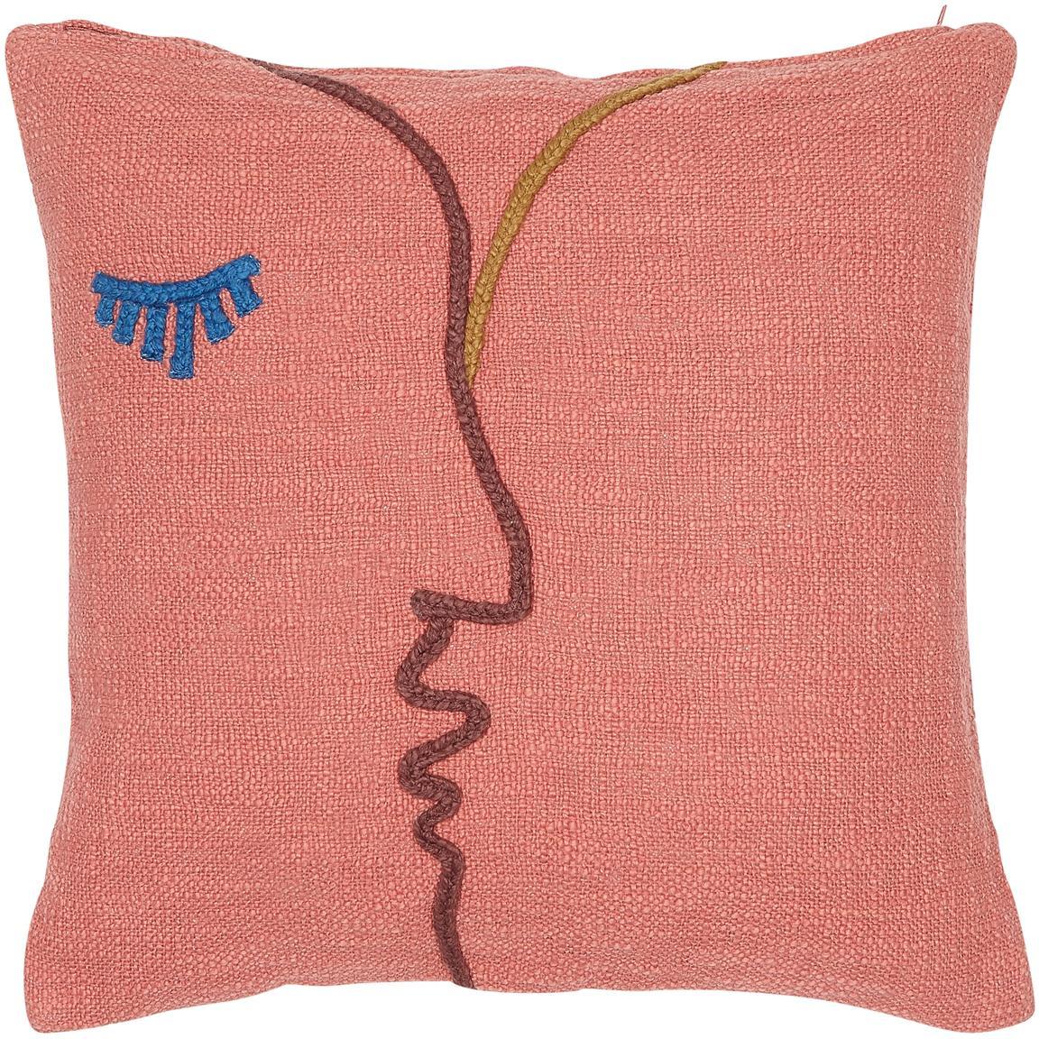 Funda de cojín bordada de algodón ecológico Faces, 100%algodón ecológico, Rojo coral, rojo oscuro, azul, mostaza, An 45 x L 45 cm