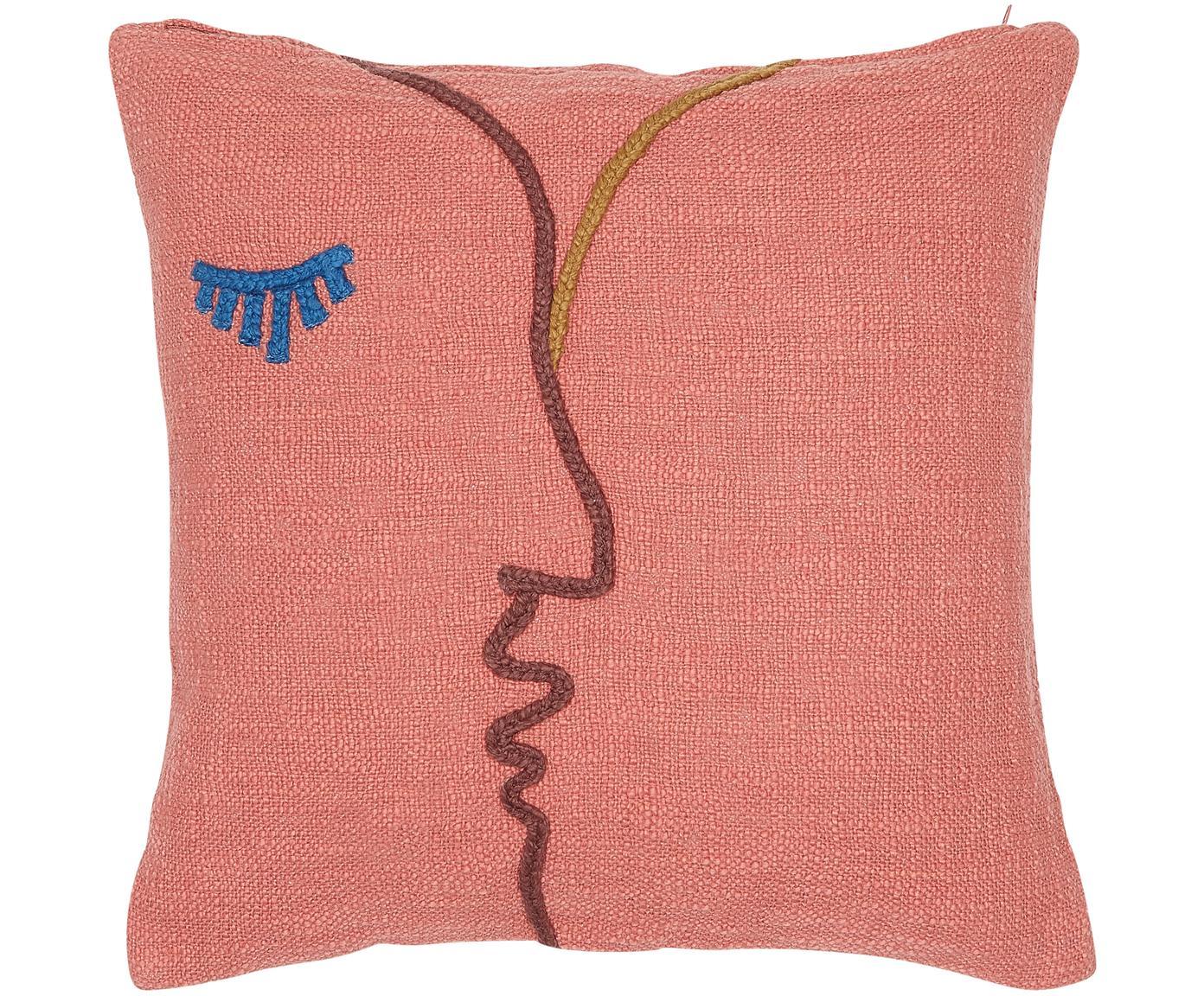 Haftowana poszewka na poduszkę z bawełny organicznej Faces, Bawełna organiczna, Koralowy, ciemny czerwony, niebieski, musztardowy, S 45 x D 45 cm