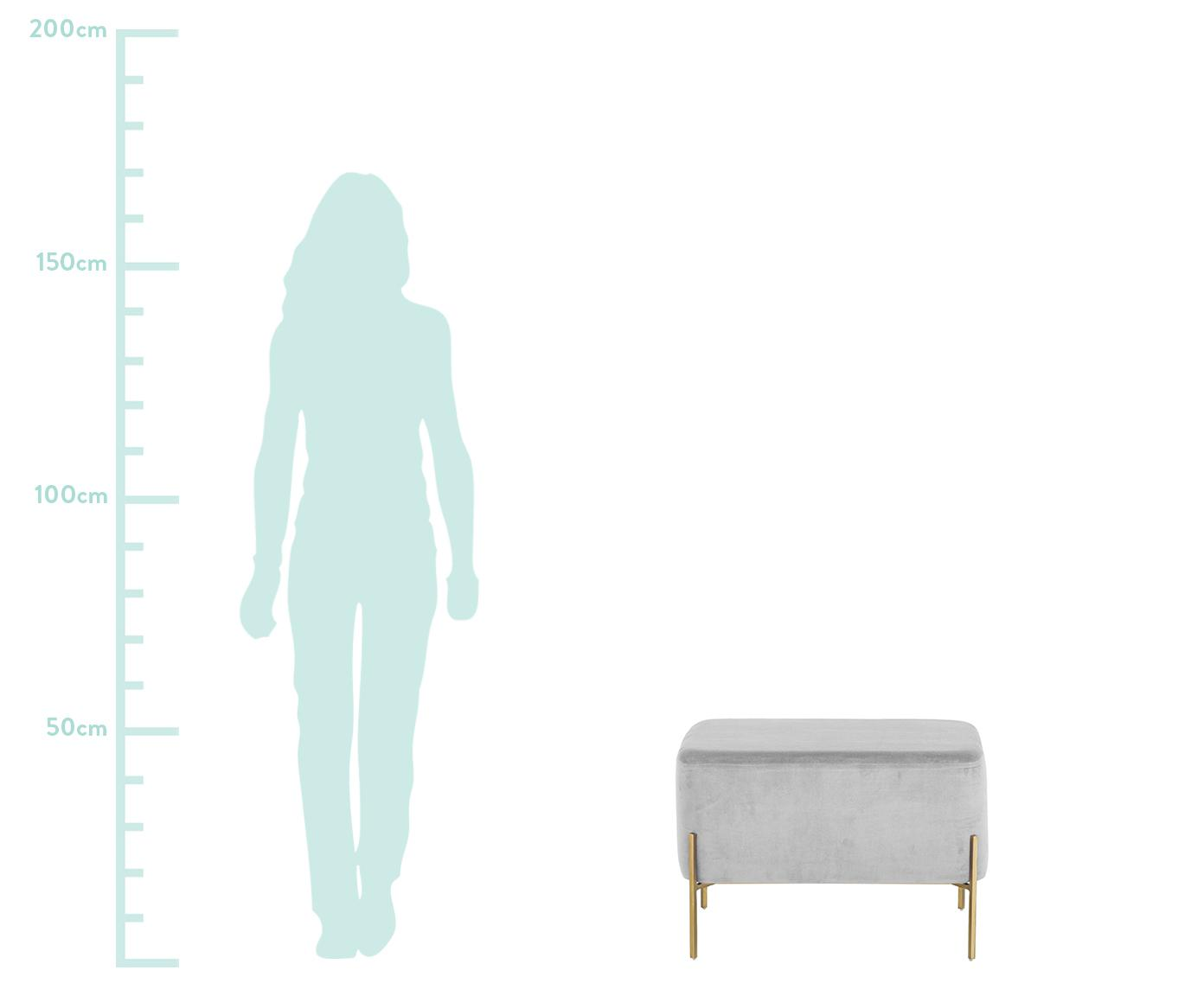 Taburete grande de terciopelo Harper, Tapizado: terciopelo de algodón, Gris claro, dorado, An 64 x Al 44 cm