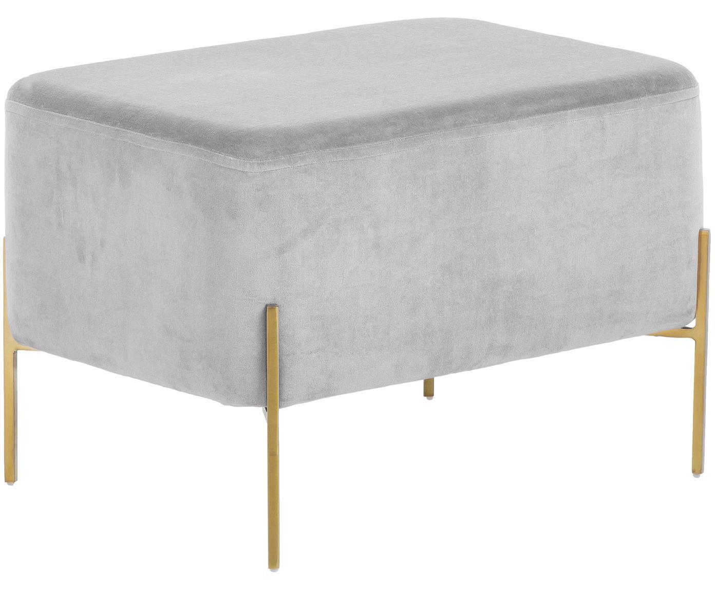 Puf z aksamitu XL Harper, Tapicerka: aksamit bawełniany, Jasny szary, odcienie złotego, S 64 x W 44 cm