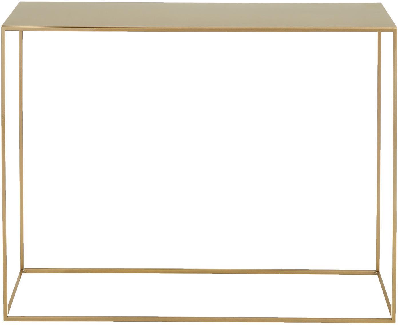 Metall-Konsole Tensio in Messingfarben, Metall, pulverbeschichtet, Schwarz, B 100 x T 35 cm