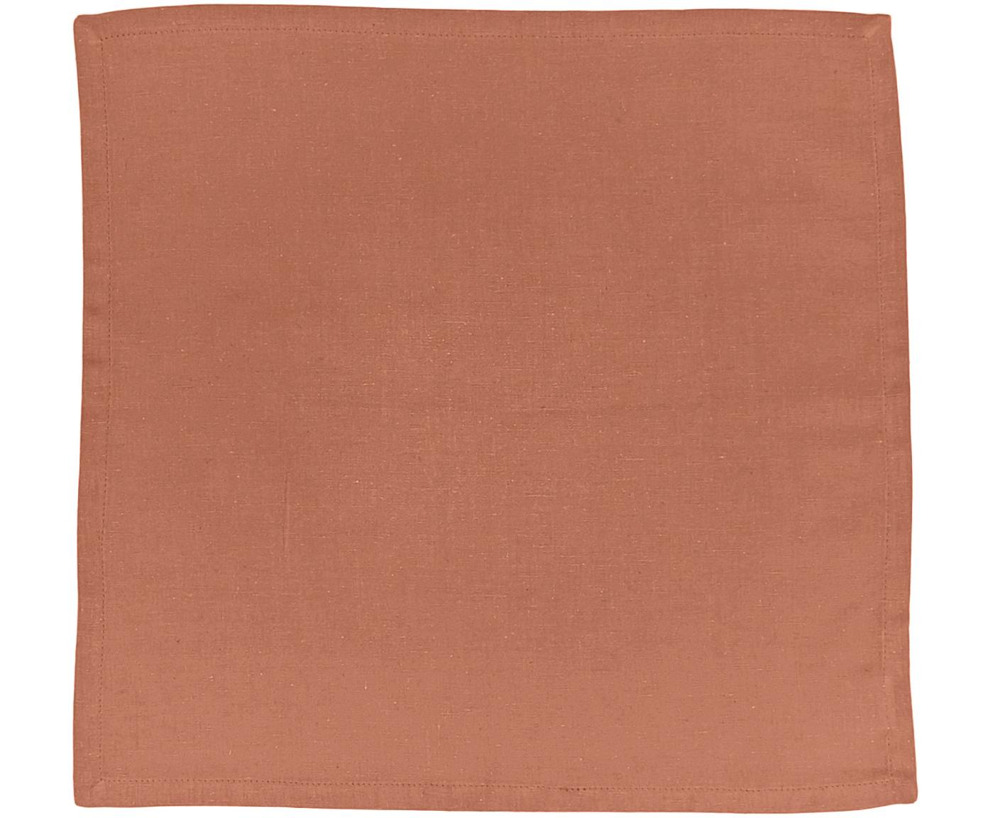 Stoffen servetten Hemmed, 6 stuks, 85% katoen, 15% linnen, Oranje, 40 x 40 cm