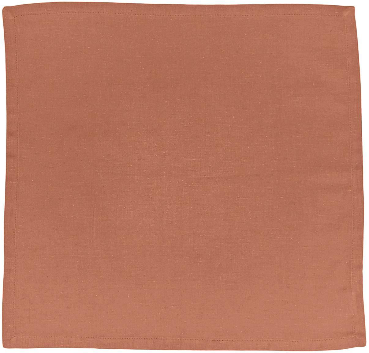 Servilletas de algodón/lino Hemmed, 6uds., 85%algodón, 15%lino, Marrón, An 40 x L 40 cm