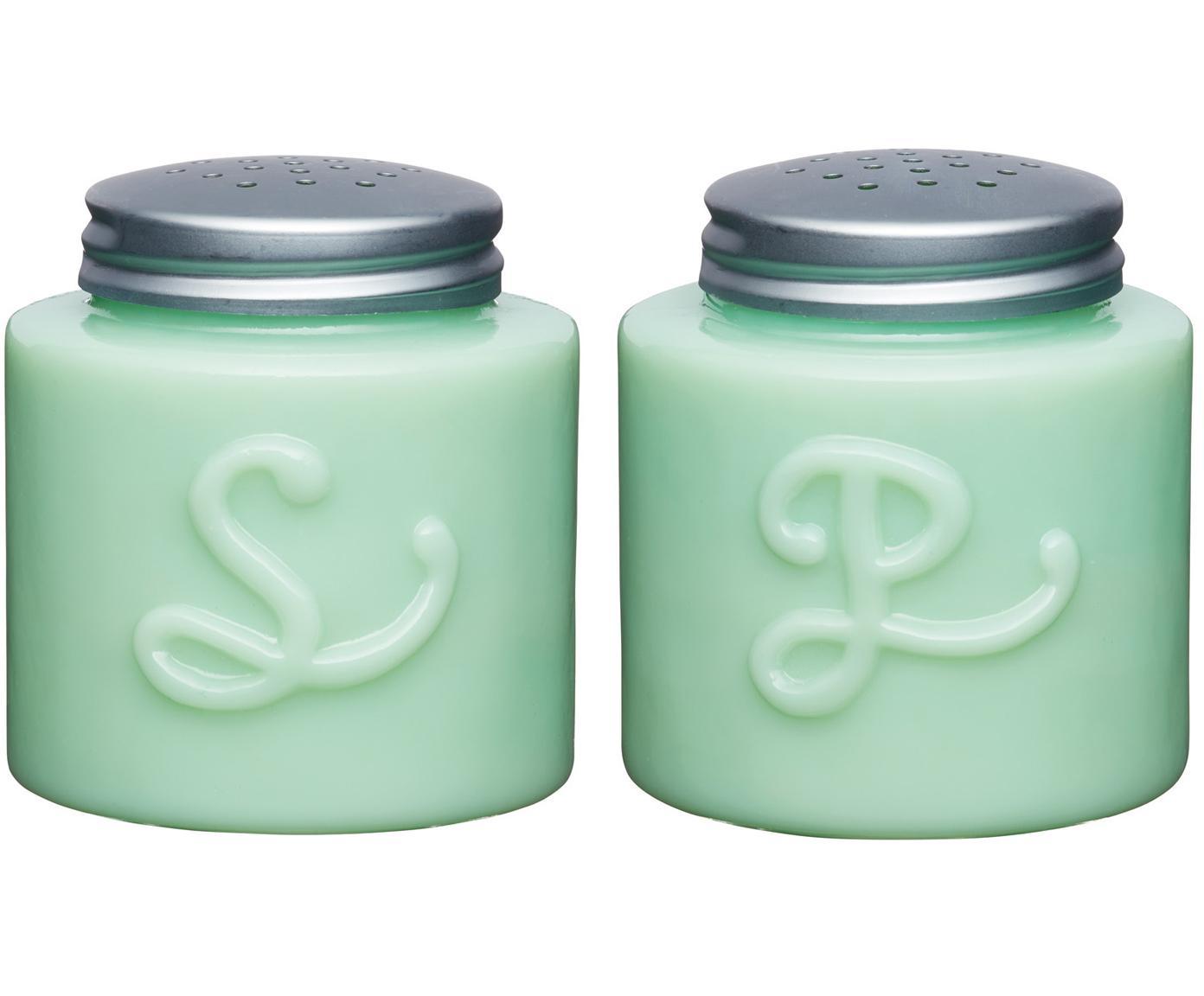 Zout- en peperstrooierset Mint, 2-delig, Glas, Mintgroen, Ø 6 x H 13 cm