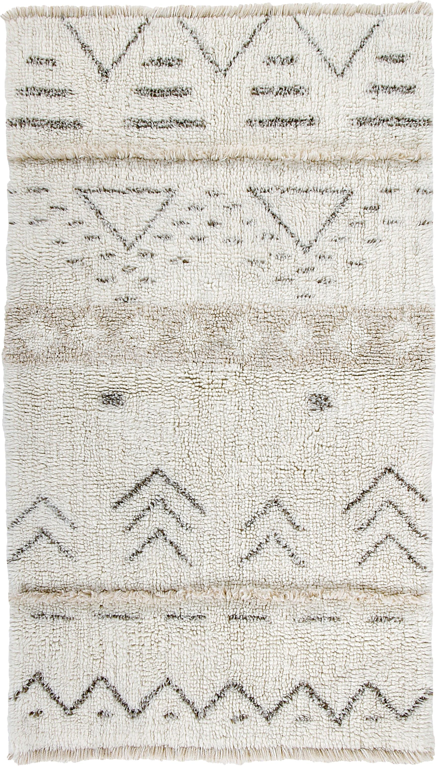 Handgewebter Wollteppich Lakota Day mit Ethno Muster, Flor: 100% Wolle, Creme, Beige, Dunkelgrau, B 80 x L 140 cm (Größe XS)