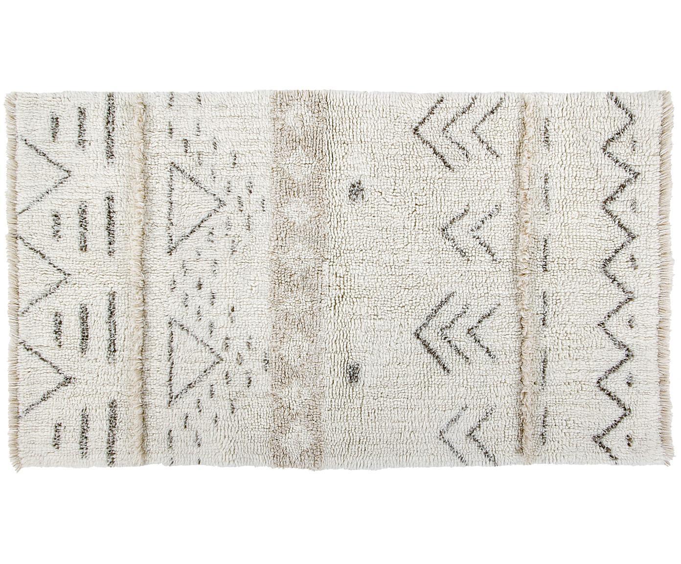 Tappeto in lana tessuto a mano Lakota Day, Retro: cotone riciclato, Crema, beige, grigio scuro, Larg. 80 x Lung. 140 cm (taglia XS)