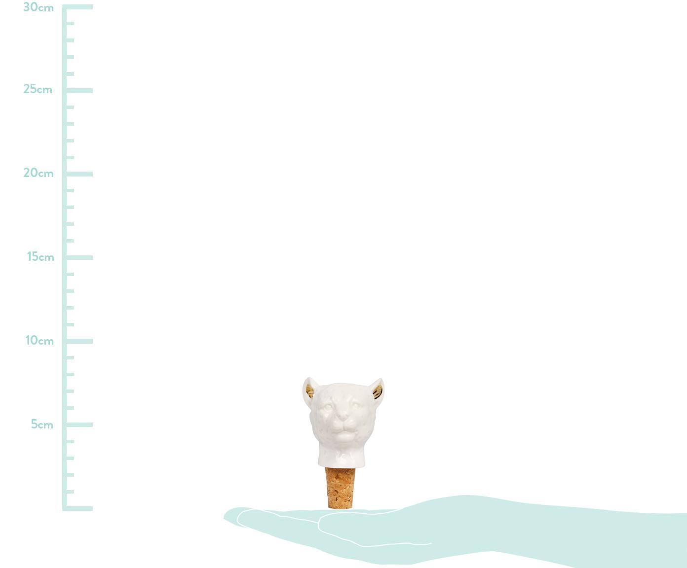 Korek do butelek Leopard, Porcelana, korek, Biały, odcienie złotego, Ø 6 x W 9 cm