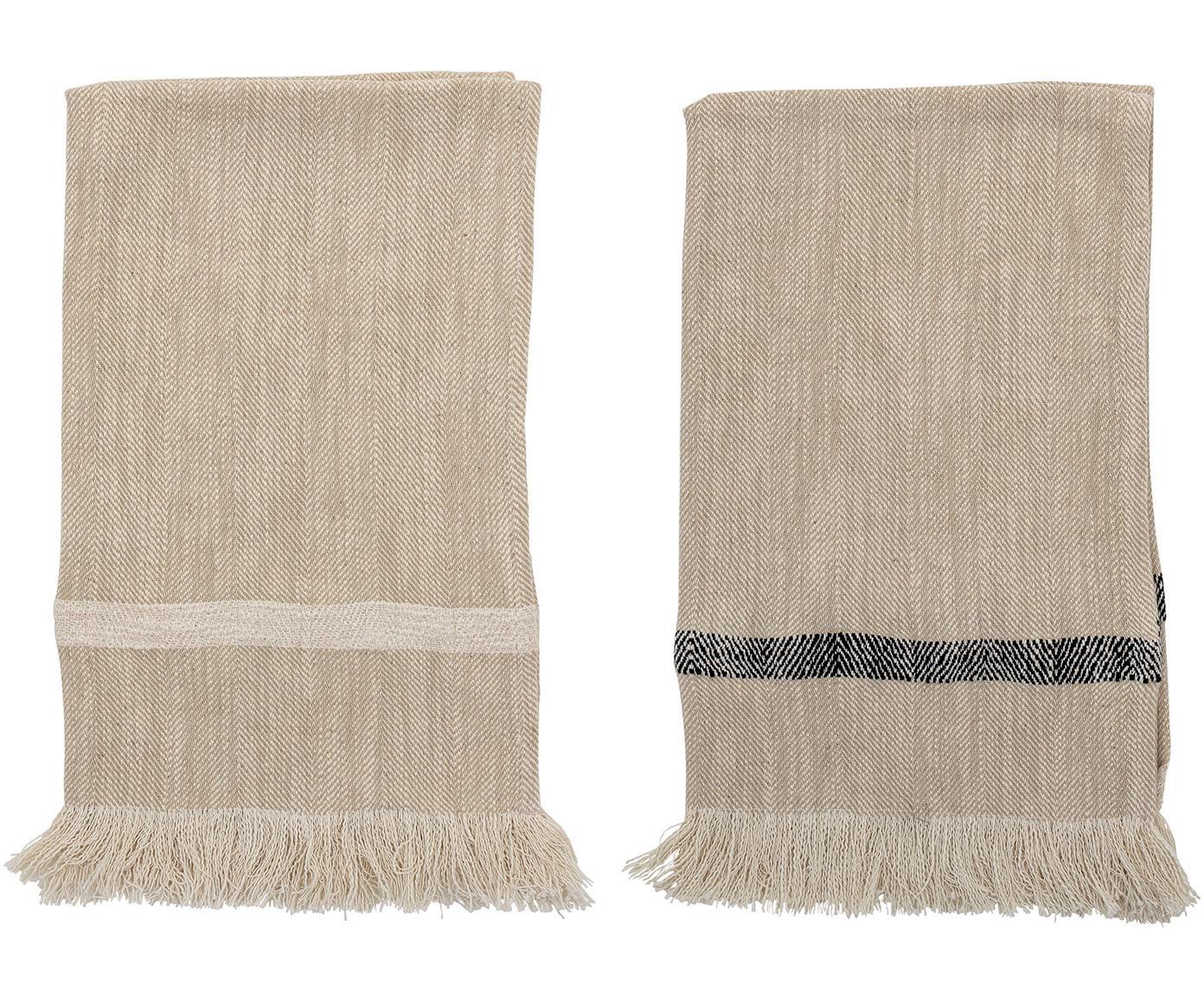 Komplet ręczników kuchennych z frędzlami Nature, 2 elem., Bawełna, Beżowy, S 45 x D 70 cm
