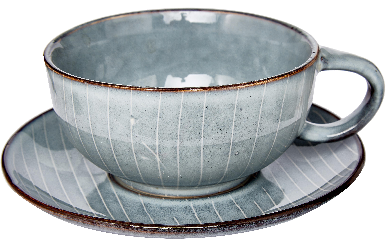 Taza artesanal Nordic Sea, Gres, Tonos grises y azules, Ø 11 x Al 5 cm