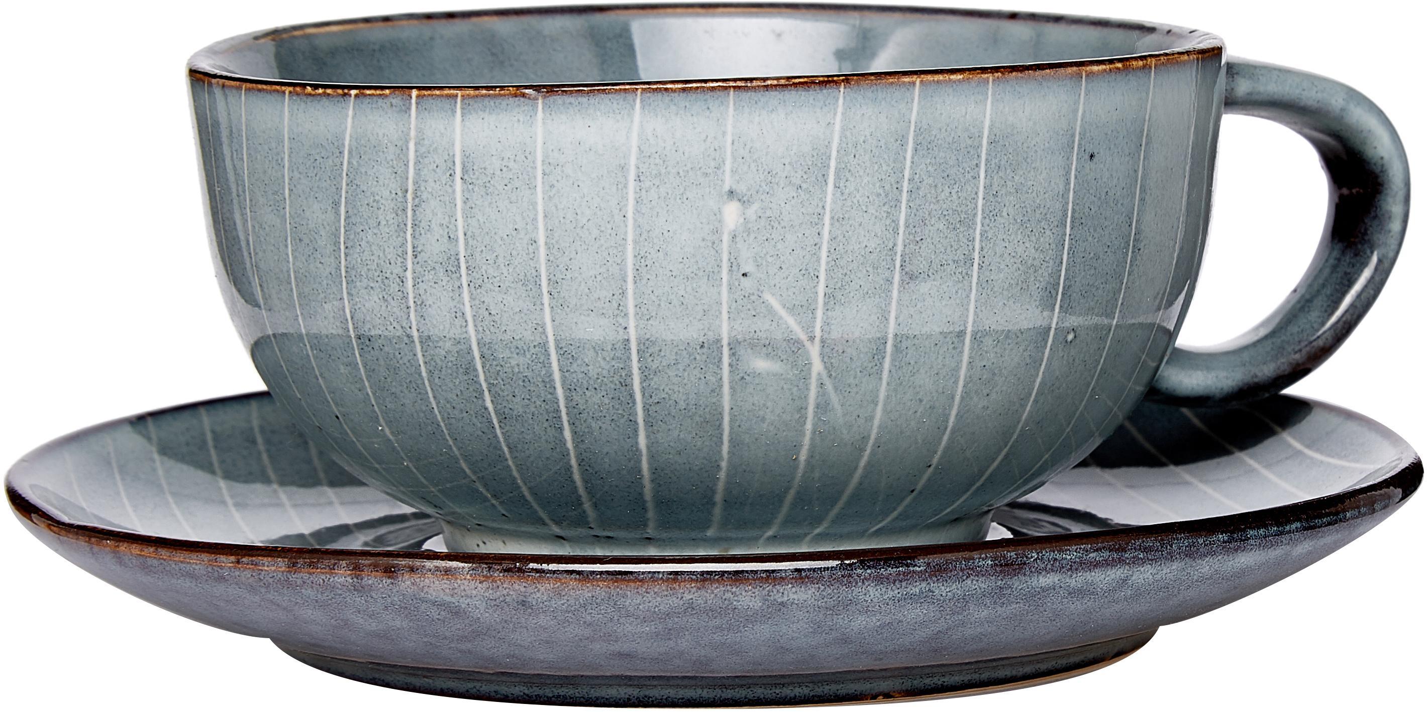 Handgemachte Tasse mit Untertasse Nordic Sea aus Steingut, Steingut, Grau- und Blautöne, Ø 11 x H 5 cm
