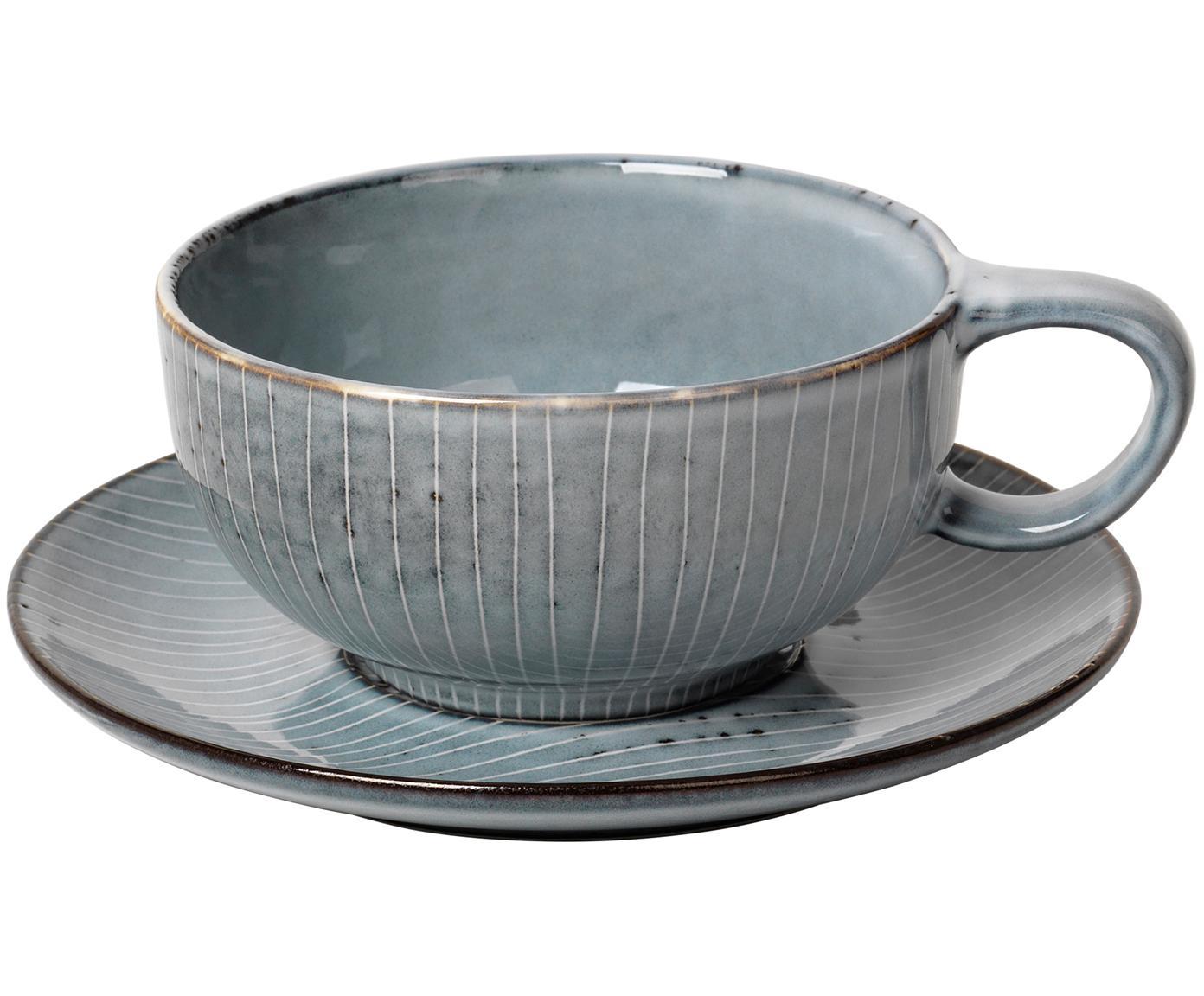 Taza artesanal con platillo Nordic Sea, 2pzas., Gres, Tonos grises y azules, Ø 11 x Al 5 cm