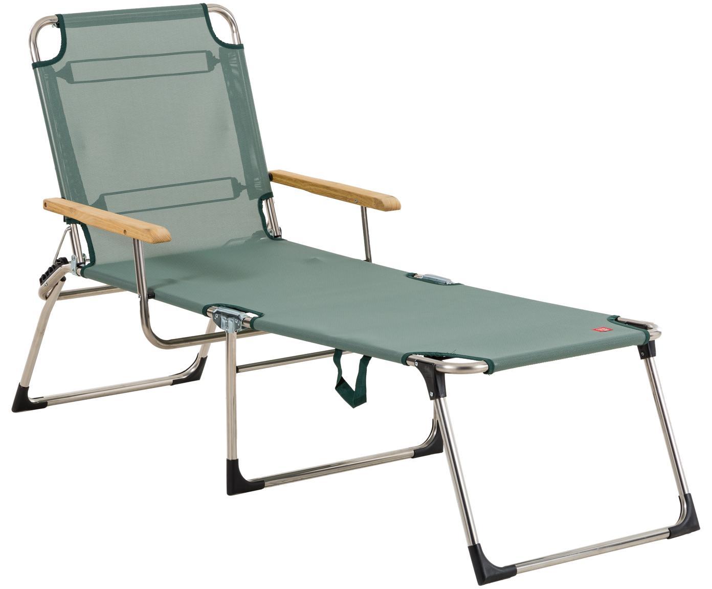 Outdoor ligstoel Amigo, Frame: aluminium, Bekleding: kunststofweefsel (weer- e, Armleuning: natuurlijk robiniahout, Saliegroen, robiniahoutkleurig, B 190 x D 69 cm
