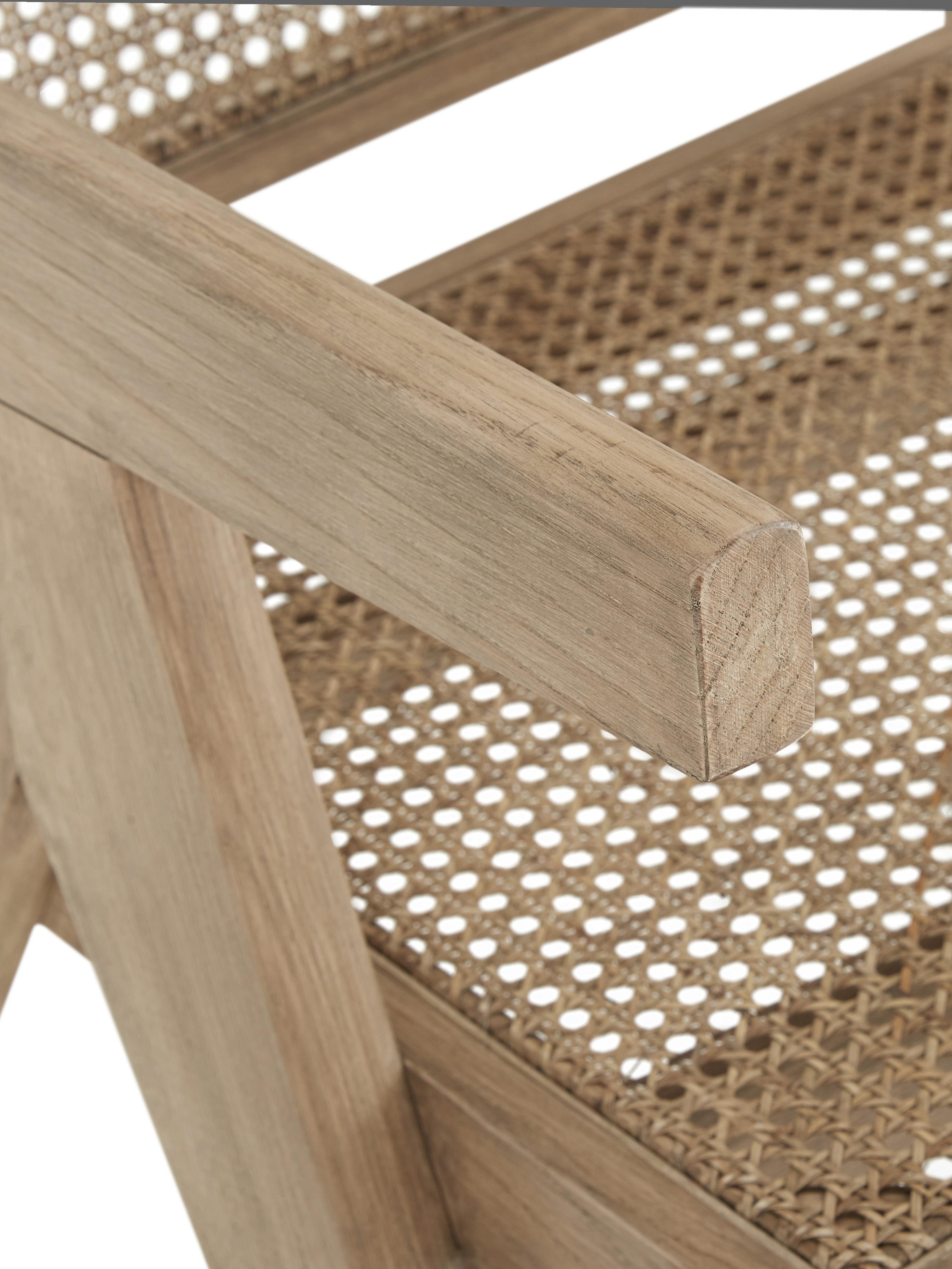 Sillón Sissi, Estructura: madera de roble maciza, Asiento: ratán, Estructura: roble Asiento: beige, An 58 x F 66 cm