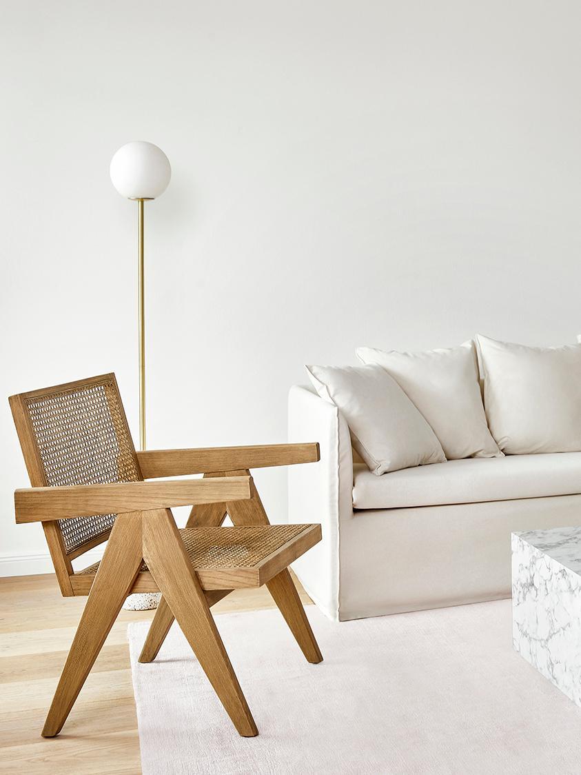 Loungesessel Sissi mit Wiener Geflecht, Gestell: Massives Eichenholz, Sitzfläche: Rattan, Gestell: EichenholzSitzfläche: Beige, B 58 x T 66 cm