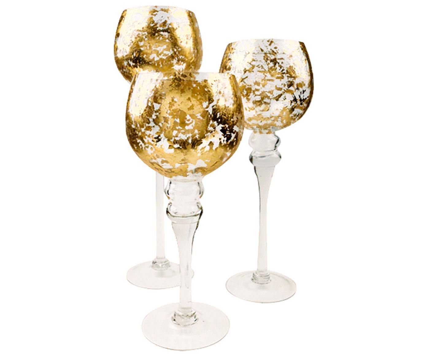 Kerzenhalter-Set Glow, 3-tlg. , Glas, Transparent, Goldfarben, Verschiedene Grössen