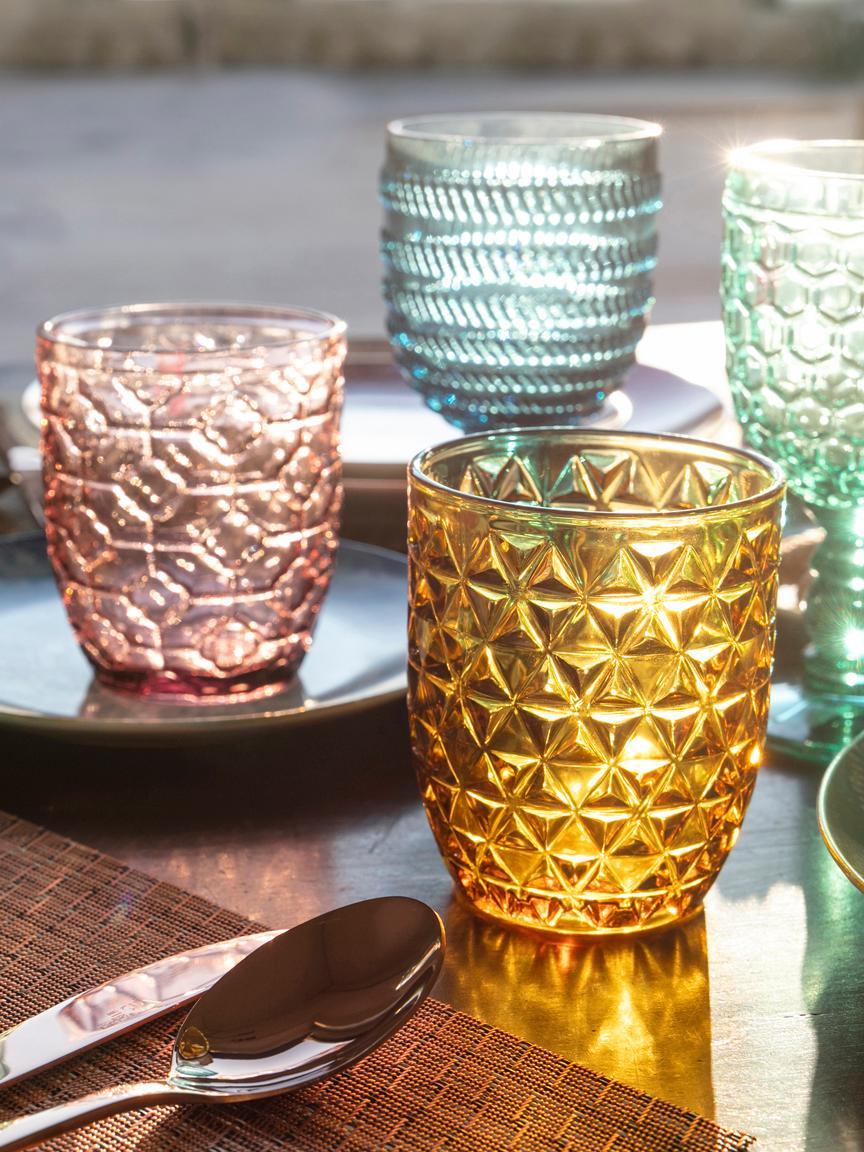 Bicchiere acqua Geometrie, set di 6, Vetro, Blu, verde, grigio, rosa, giallo oro, trasparente, Ø 8 x Alt. 10 cm