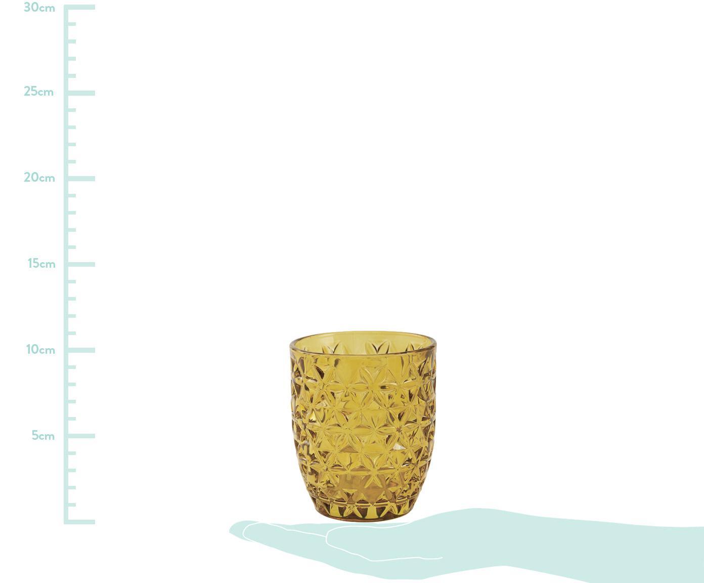 Vasos de colores con relive Geometrie, 6uds., Vidrio, Azul, verde, gris, rosa, amarillo dorado, transparente, Ø 8 x Al 10 cm