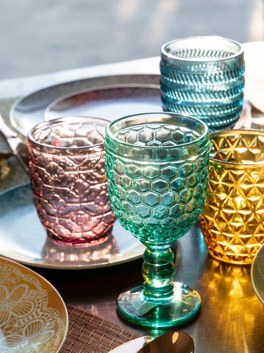 Verres à eau avec embossage décoratif Geometrie, 6élém., Bleu, vert, gris, rose, jaune or, transparent