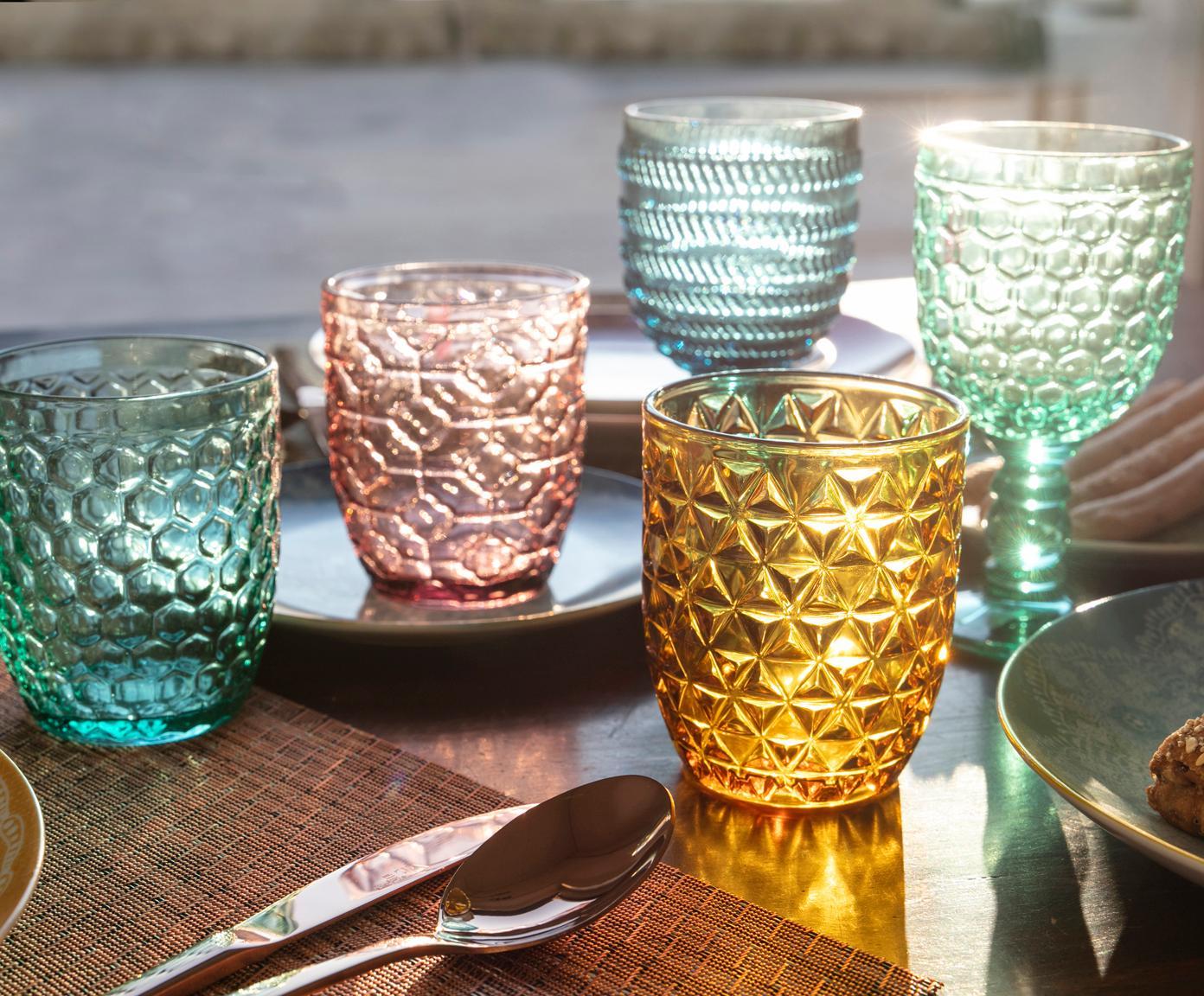 Wassergläser Geometrie mit Strukturmuster in Bunt, 6er-Set, Glas, Blau, Grün, Grau, Rosa, Goldgelb, Transparent, Ø 8 x H 10 cm