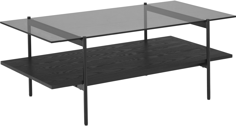 Salontafel Valentina met glazen tafelblad, Tafelblad: glas, Plank: MDF met essenhoutfineer, , Frame: gepoedercoat metaal, Zwart, 100 x 40 cm