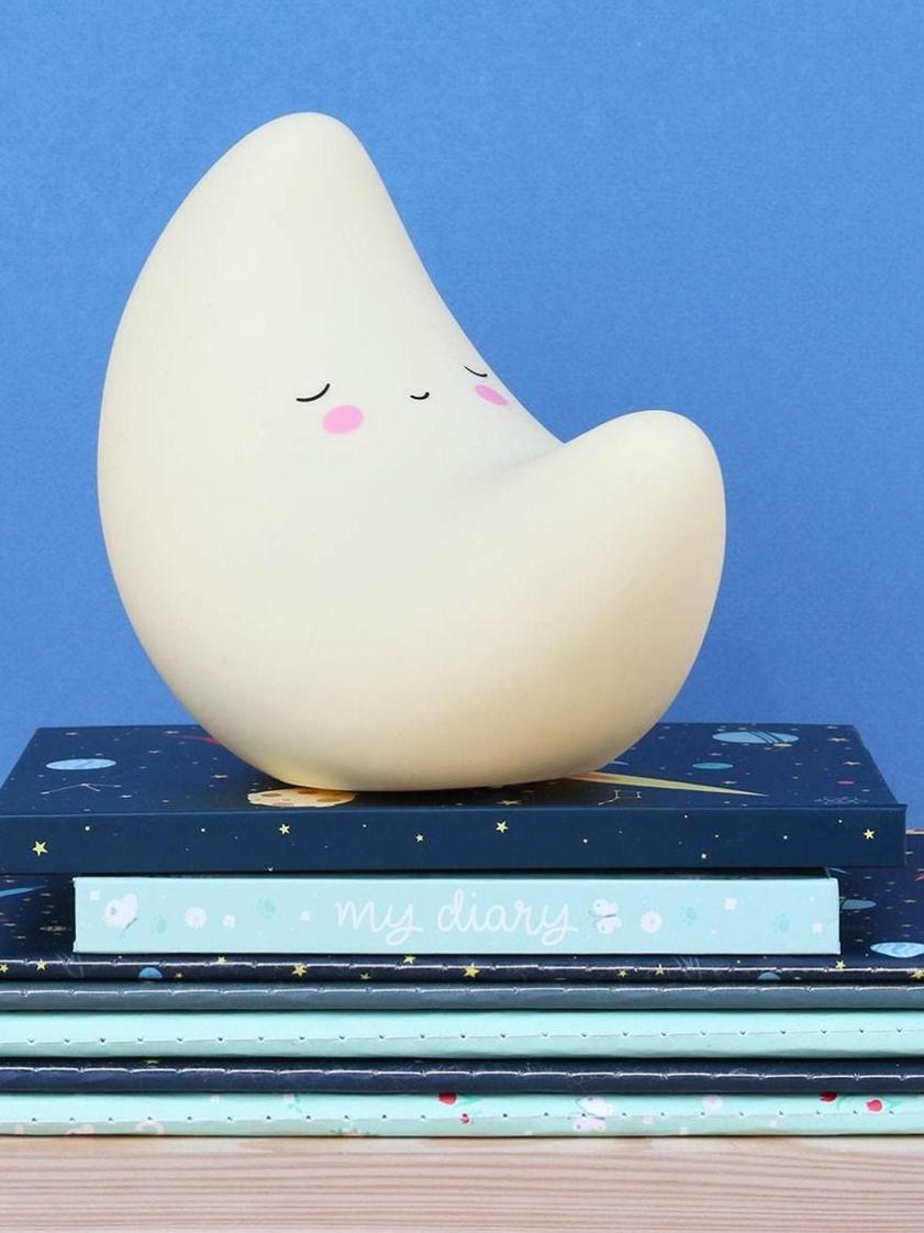 Piccolo oggetto luminoso a LED con timer Moon, Plastica, senza BPA e piombo, Giallo, nero, rosa, Larg. 16 x Alt. 13 cm