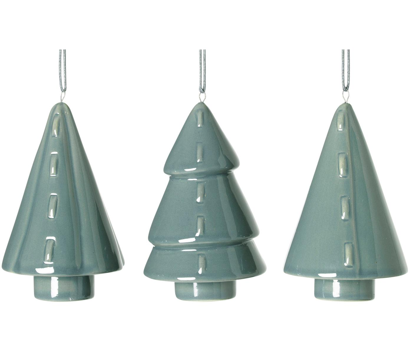 Baumanhänger-Set Trees, 3-tlg., Porzellan, Mintgrün, Ø 5 x H 9 cm