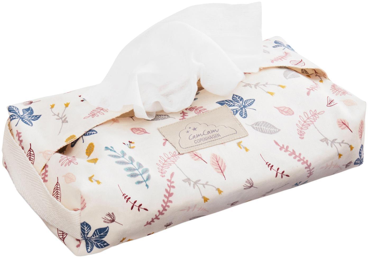 Vochtige doekjeshouder Pressed Leaves, Organisch katoen, Crèmekleurig, roze, blauw, grijs, geel, B 25 x D 17 cm