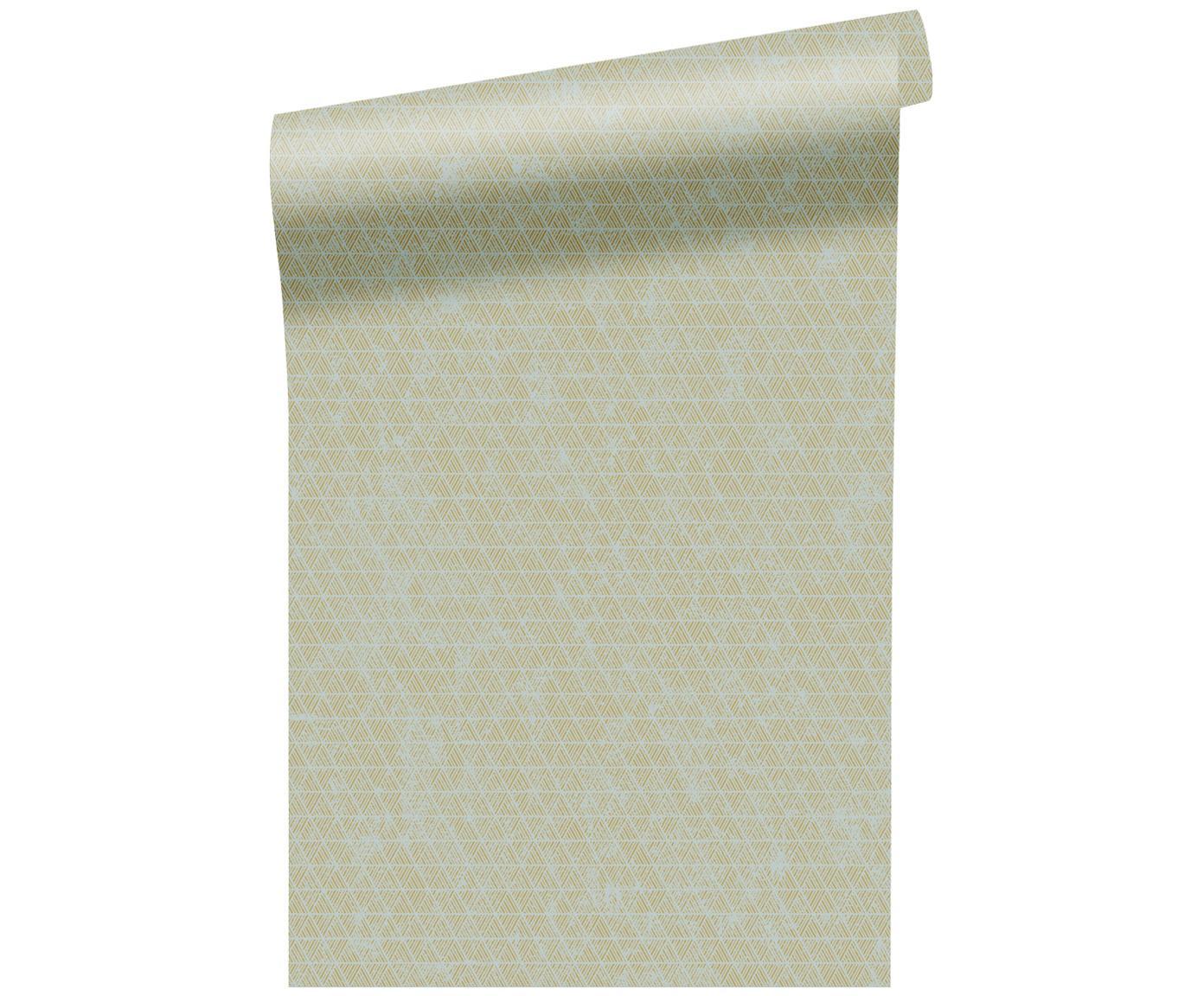 Carta da parati Luxury Triangle, Vello, Verde chiaro, bianco, P 52 x L 1005 cm