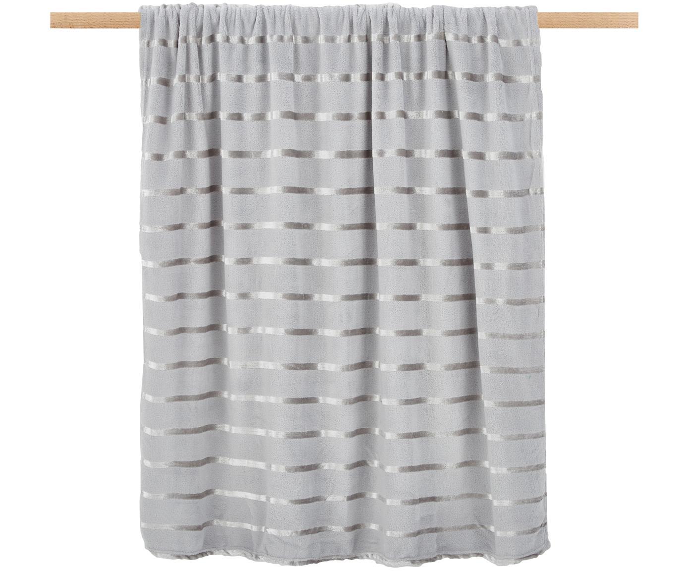 Weiches Fleece-Plaid Clyde mit schimmernden Streifen, 100% Polyester, Grau, Beige, 130 x 160 cm