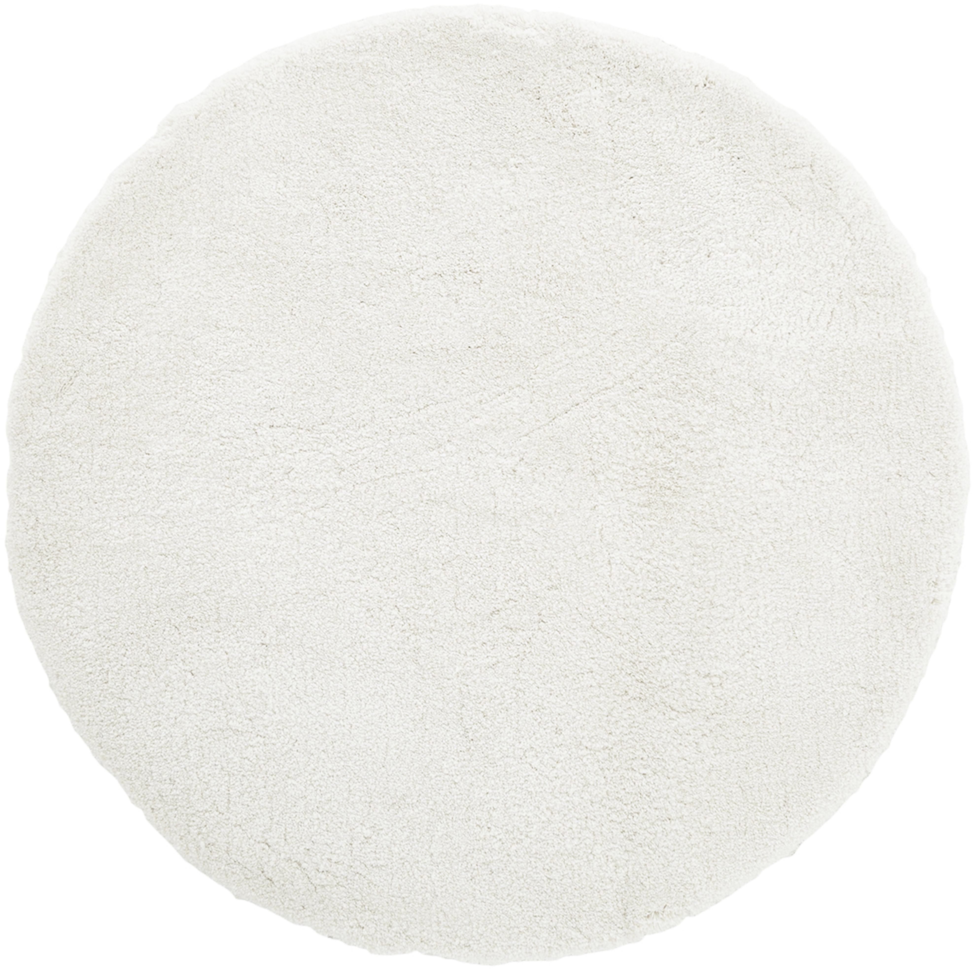 Flauschiger runder Hochflor-Teppich Leighton in Creme, Flor: 100% Polyester (Mikrofase, Creme, Ø 120 cm (Größe S)