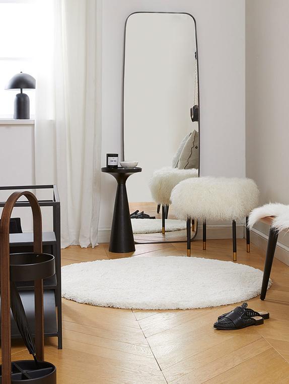 Flauschiger Runder Hochflor-Teppich Leighton in Creme, Flor: 100% Polyester (Mikrofase, Creme, Ø 120 cm (Grösse S)