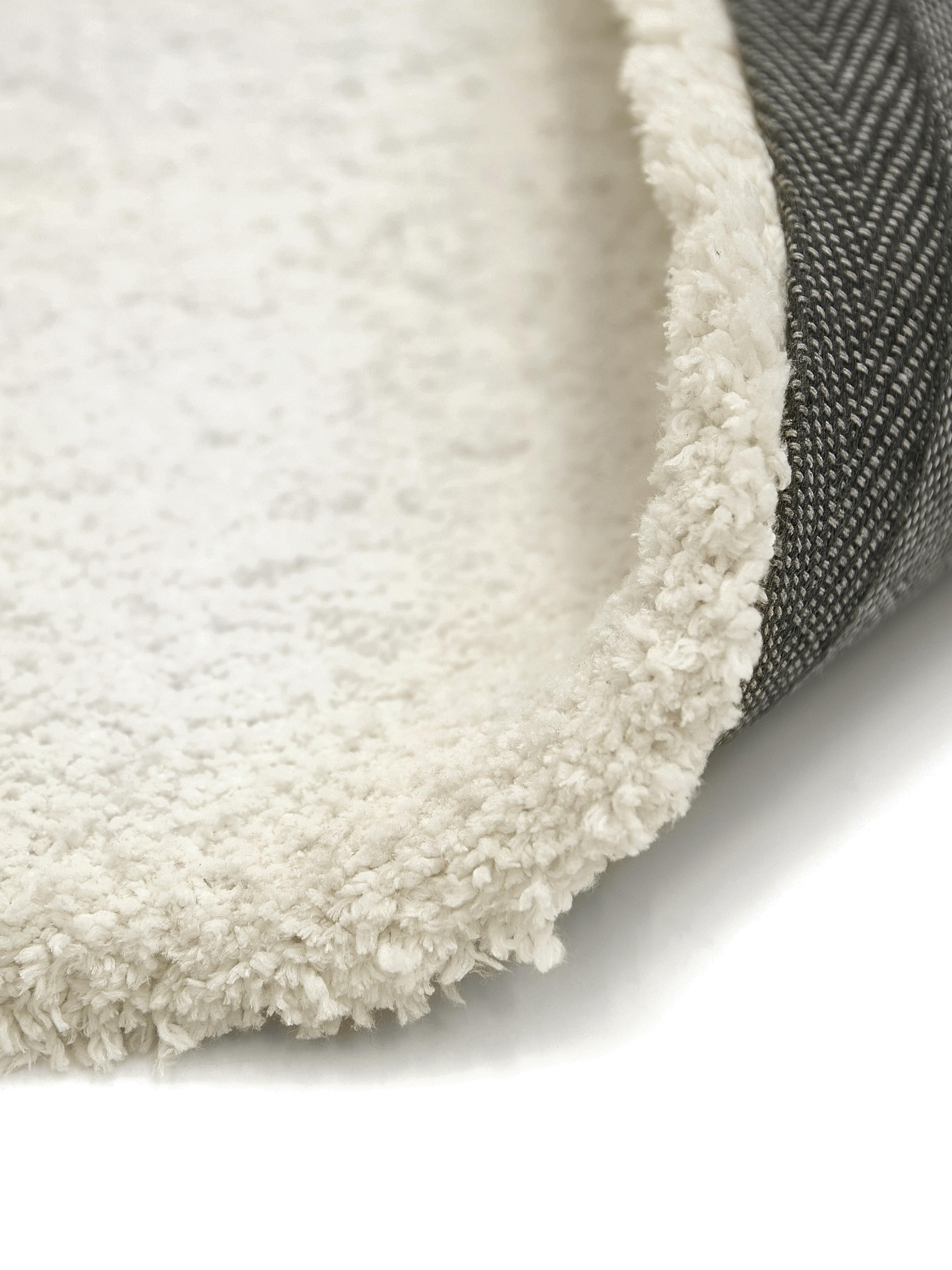 Okrągły puszysty dywan z wysokim stosem Leighton, Kremowy, Ø 120 cm (Rozmiar S)