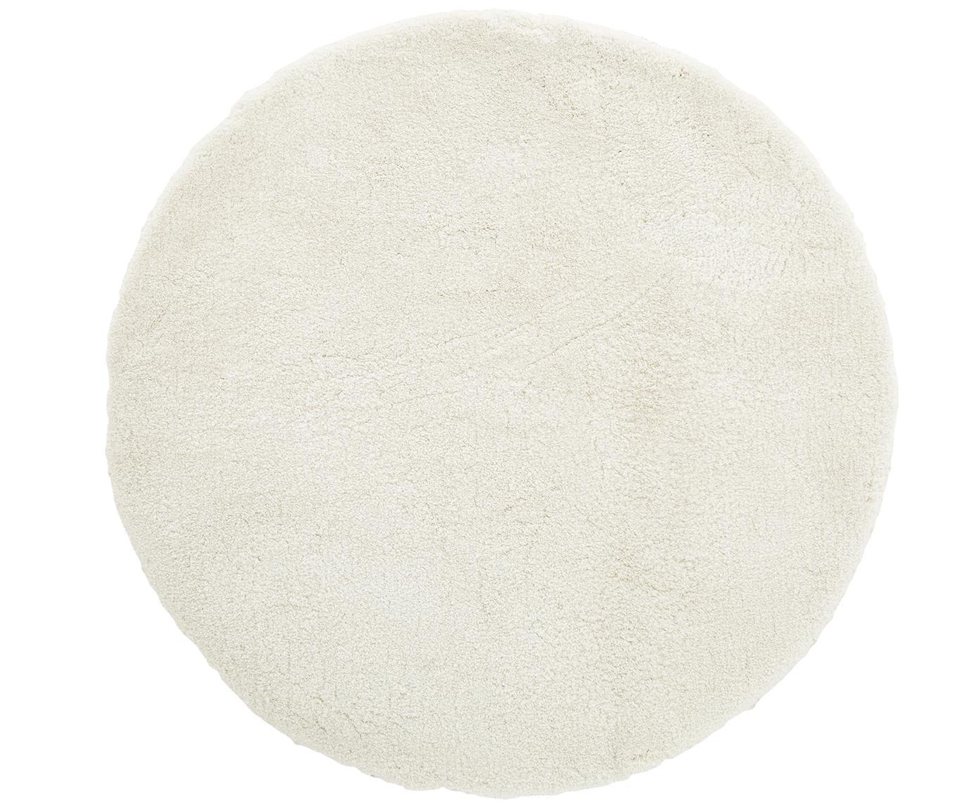 Rond hoogpolig vloerkleed Leighton in crèmekleur, Crèmekleurig, Ø 120 cm