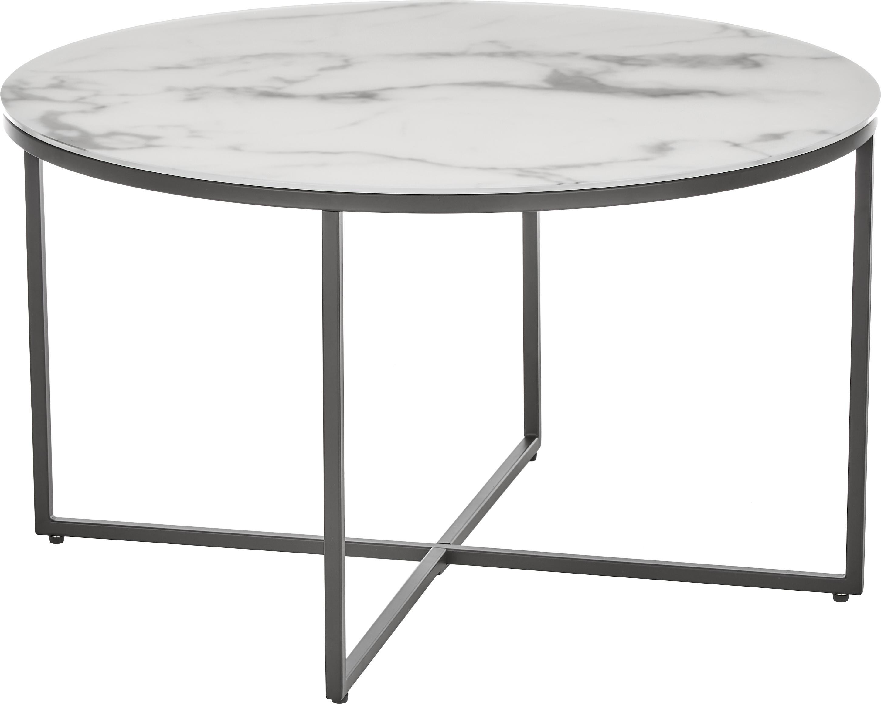 Tavolino da salotto con piano in vetro effetto marmo Antigua, Piano d'appoggio: vetro stampato opaco, Struttura: acciaio verniciato a polv, Bianco-grigio marmorizzato, nero, Ø 80 x Alt. 45 cm