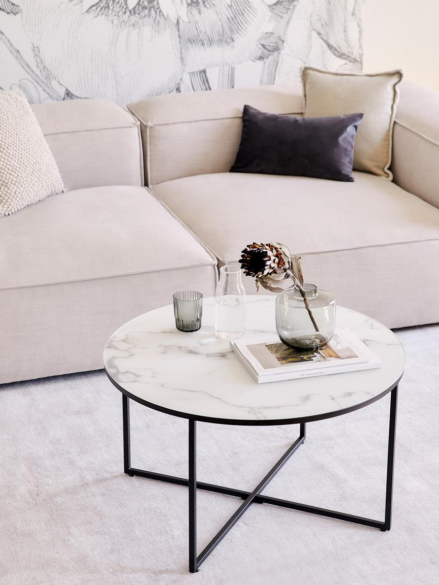 Table basse en verre marbré Antigua, Blanc-gris marbré, noir