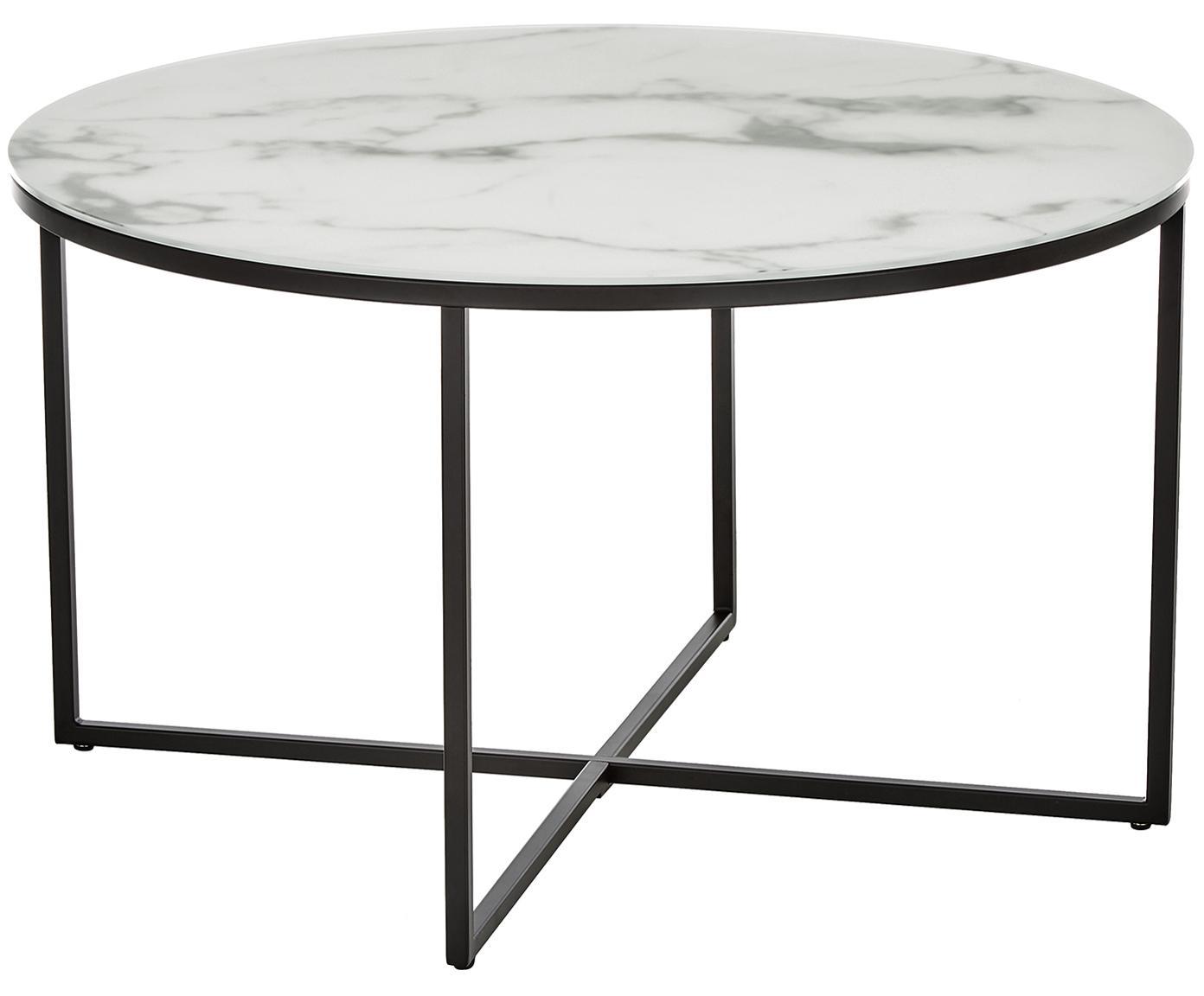 Tavolino da salotto con piano in vetro Antigua, Piano d'appoggio: vetro stampato opaco, Struttura: acciaio verniciato a polv, Bianco-grigio marmorizzato, nero, Ø 80 x Alt. 45 cm