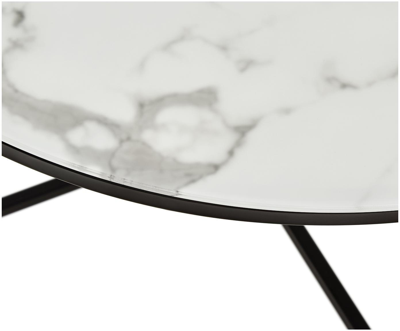 Stolik kawowy ze szklanym blatem Antigua, Blat: szkło, matowy nadruk, Stelaż: stal malowana proszkowo, Białoszary marmurowy, czarny, Ø 80 x W 45 cm