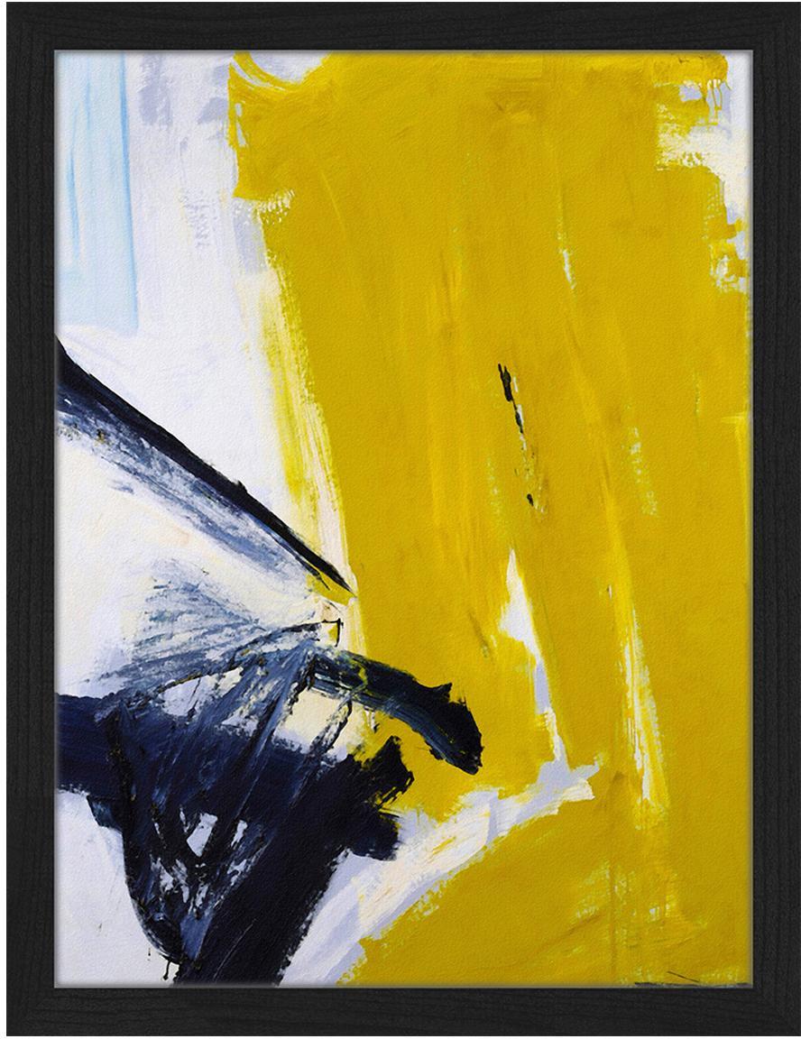 Oprawiony druk cyfrowy Abstract, Czarny, złamana biel , odcienie złotego, S 33 x W 43 cm