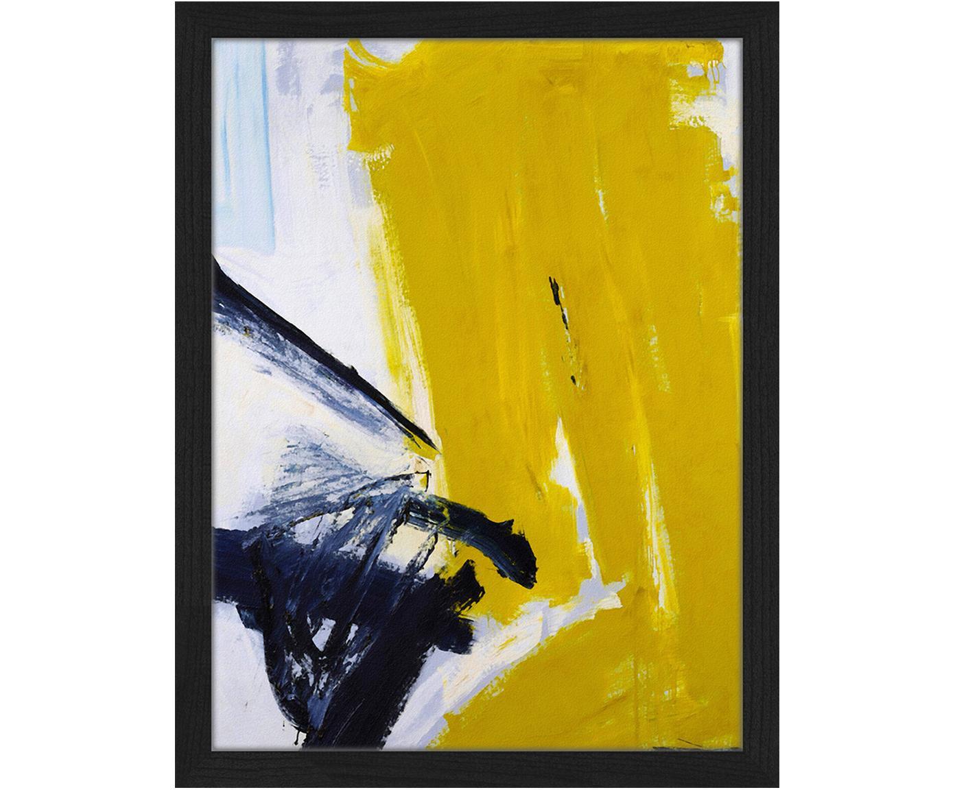 Gerahmter Digitaldruck Abstract, Bild: Digitaldruck auf Papier, , Rahmen: Buchenholz, lackiert, Front: Plexiglas, Schwarz, Weiß, Goldfarben, 33 x 43 cm