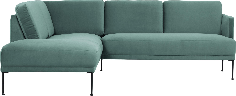 Sofa narożna z aksamitu Fluente, Tapicerka: aksamit (wysokiej jakości, Stelaż: lite drewno sosnowe, Nogi: metal malowany proszkowo, Aksamitny jasny zielony, S 221 x G 200 cm
