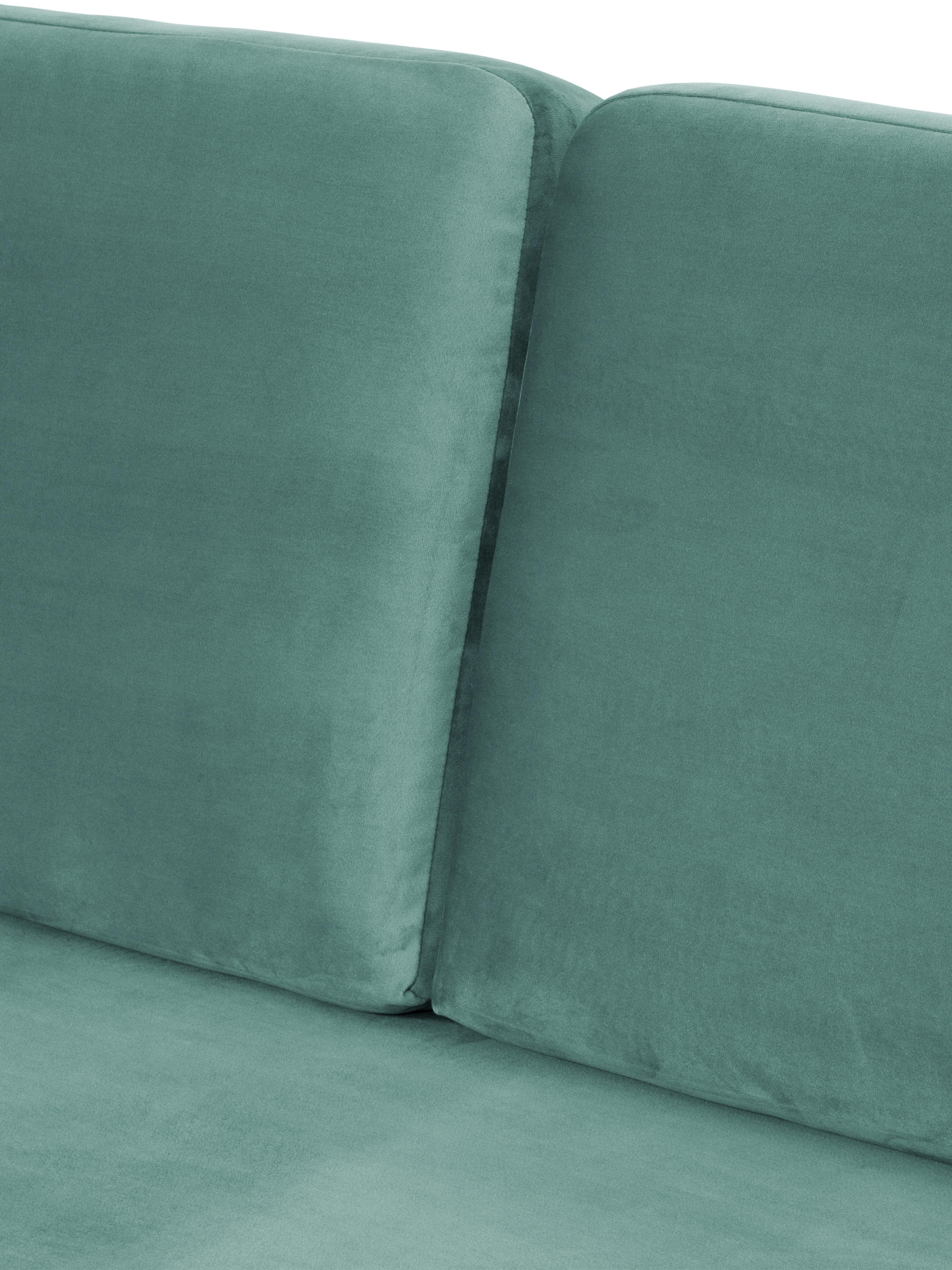 Samt-Ecksofa Fluente, Bezug: Samt (Hochwertiger Polyes, Gestell: Massives Kiefernholz, Füße: Metall, pulverbeschichtet, Samt Hellgrün, B 221 x T 200 cm