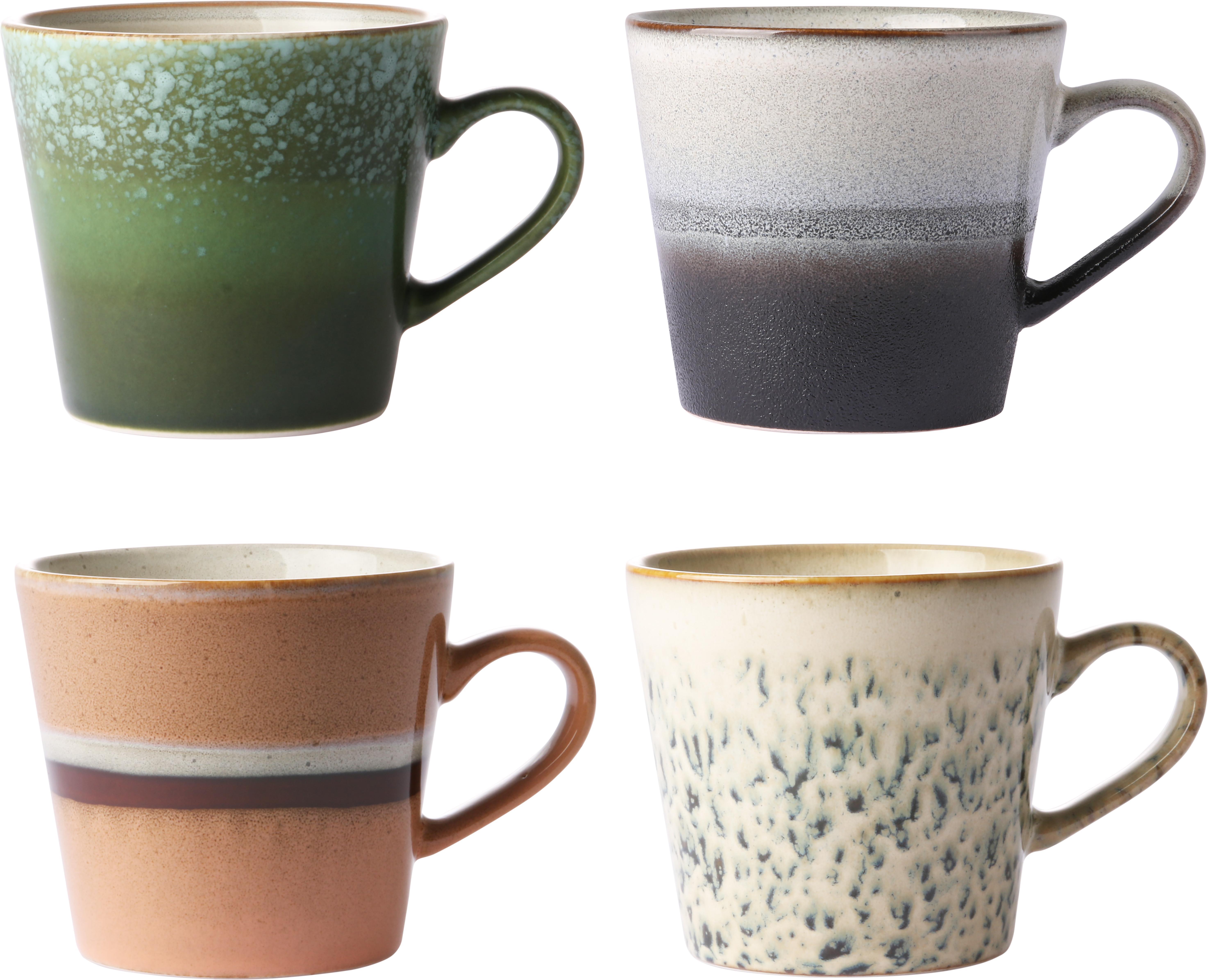 Handgemachte Tassen 70's im Retro Style, 4er-Set, Keramik, Mehrfarbig, Ø 12 x H 9 cm