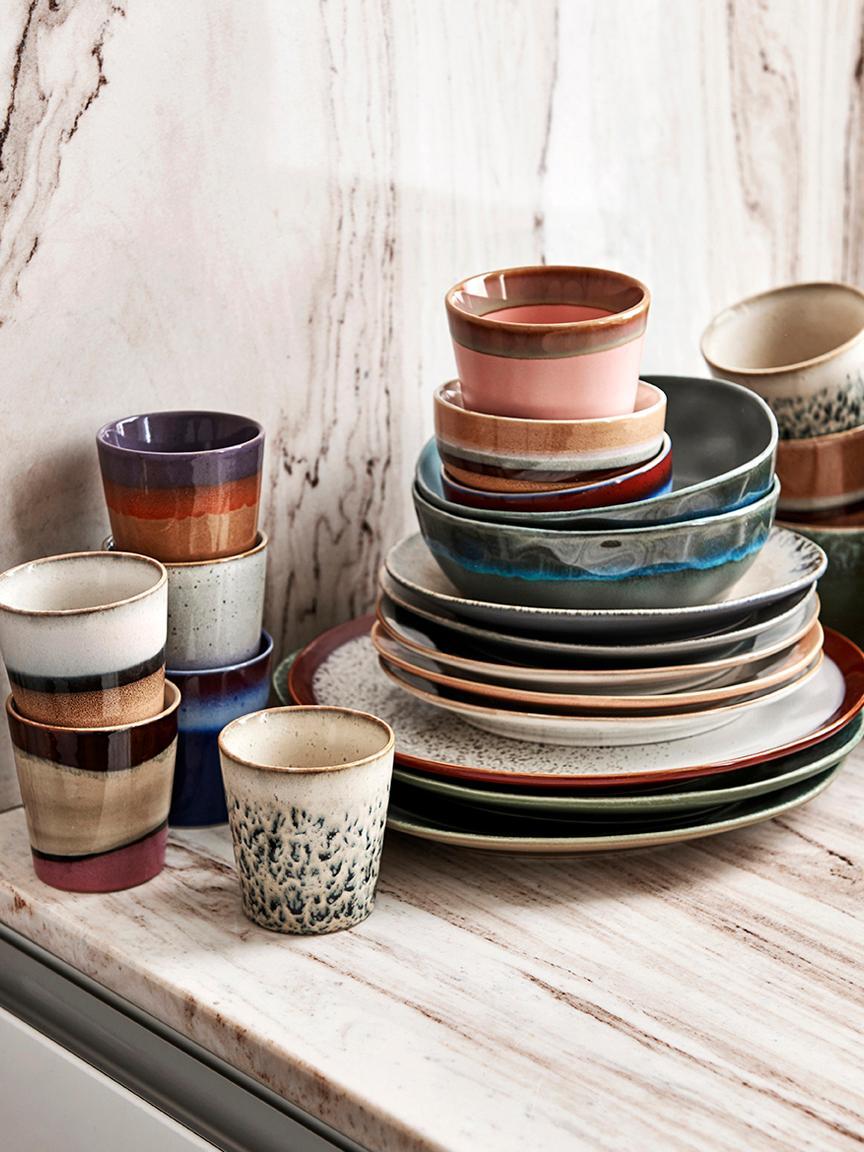 Set di tazze fatto a mano 70's, set di 4, Ceramica, Multicolore, Ø 12 x Alt. 9 cm