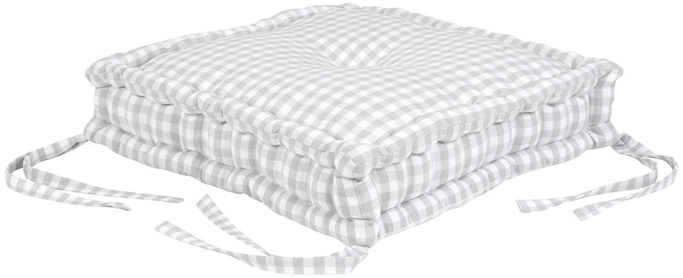 Cuscino seduta a quadretti Karolin, Grigio chiaro, bianco crema, Larg. 45 x Lung. 45 cm