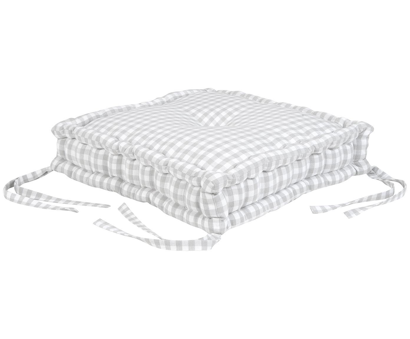 Geruit stoelkussen Karolin, Lichtgrijs, crèmewit, 45 x 45 cm