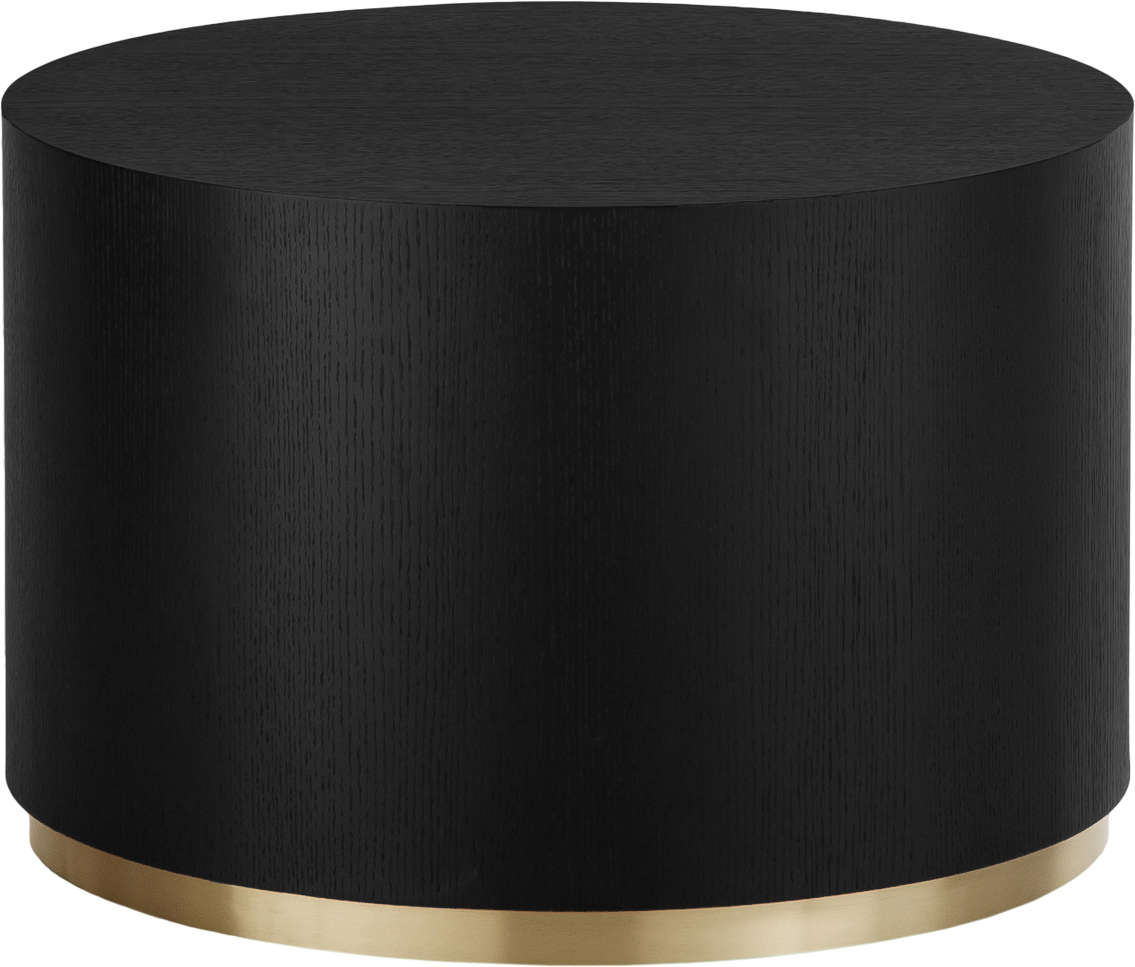 Tavolino da salotto rotondo color nero Clarice, Corpo: legno di frassino, nero verniciato Base: dorato, Ø 60 x Alt. 40 cm