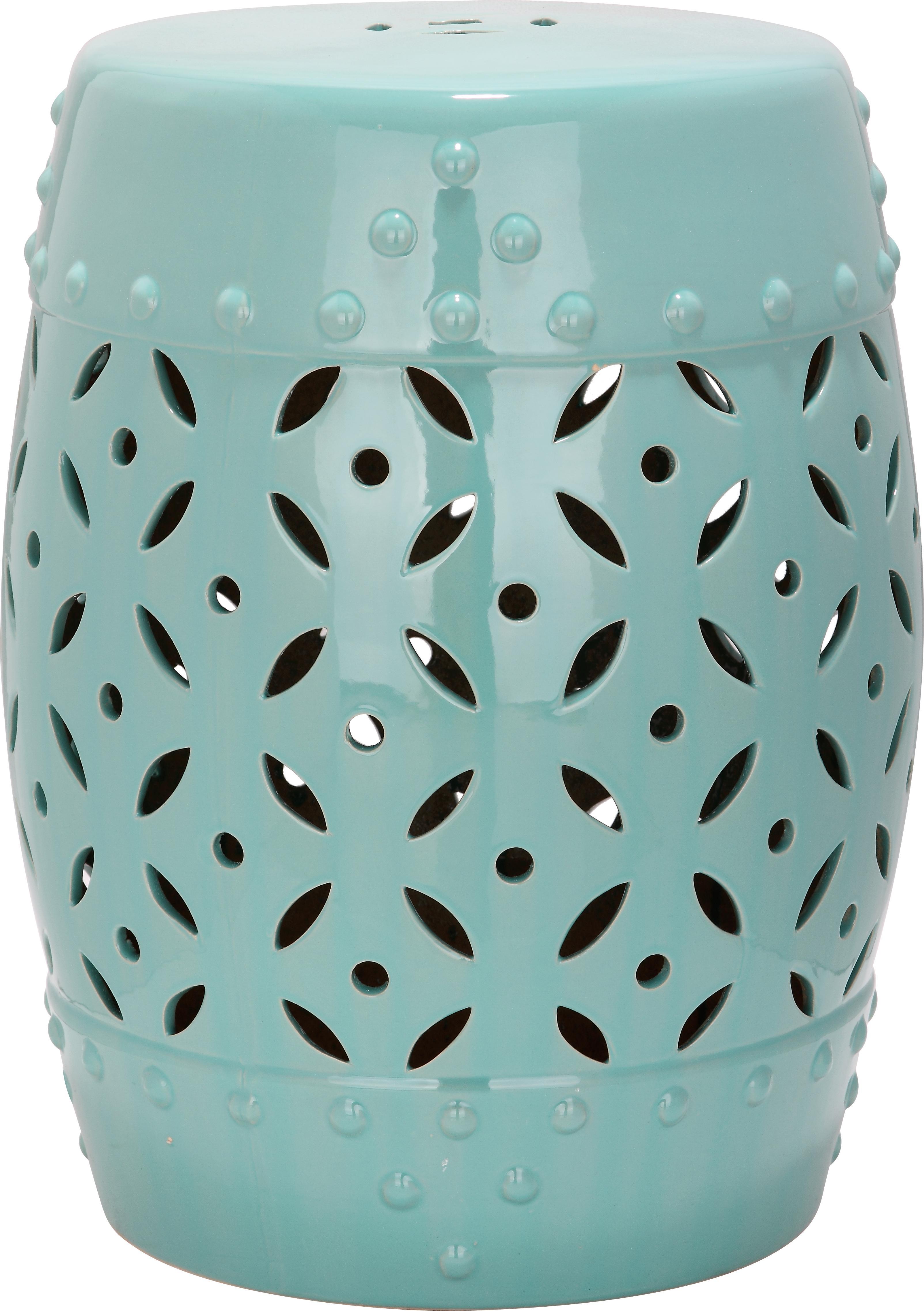 In- und Outdoor-Hocker / Beistelltisch Philine, Keramik, glasiert, Türkis, Ø 33 x H 47 cm